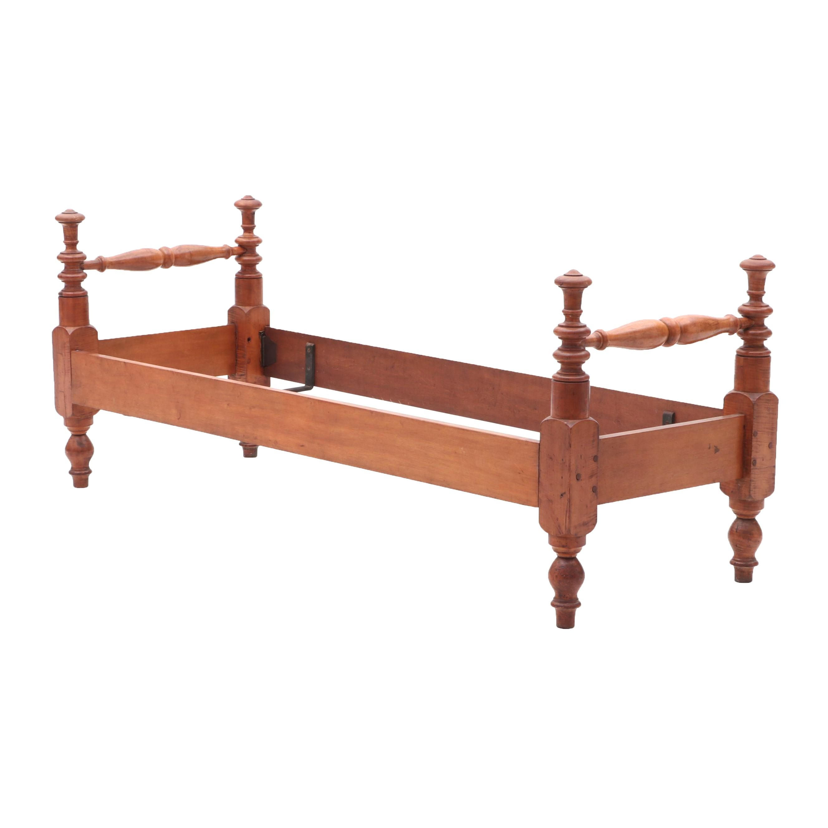 Antique Curly Maple Day Bed with Rails