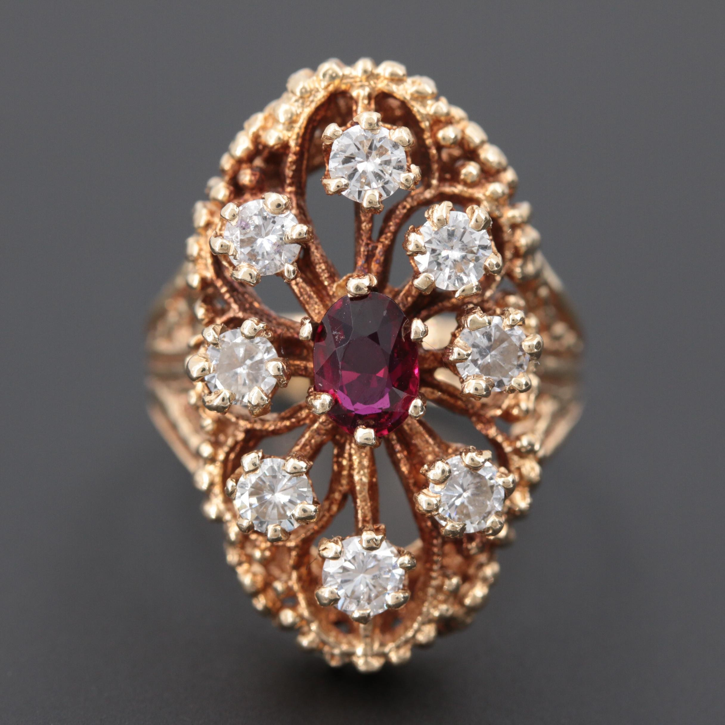 14K Yellow Gold Ruby and 1.20 CTW Diamond Ring