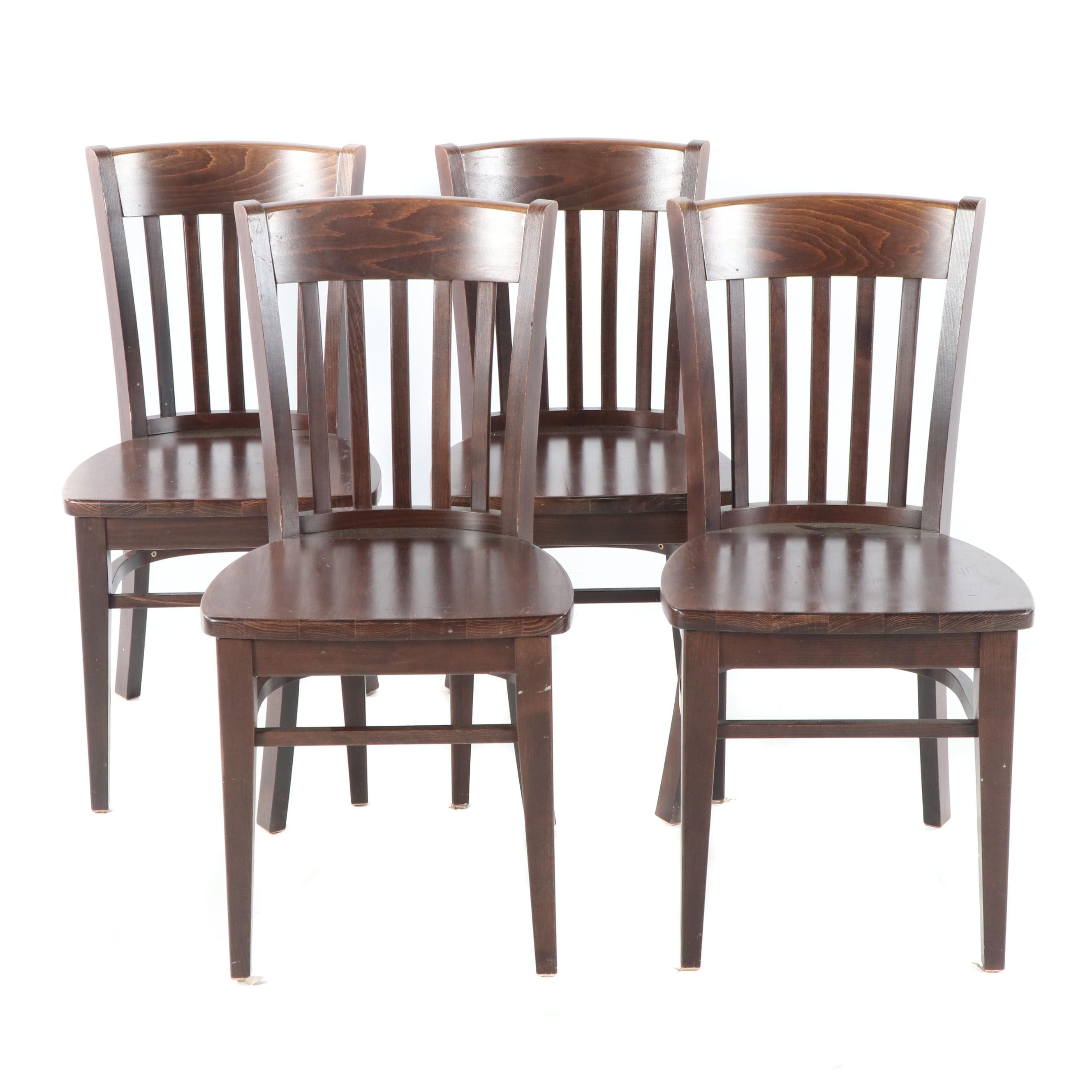 Stained Oak Slat Back Dining Chairs Set, 21st Century