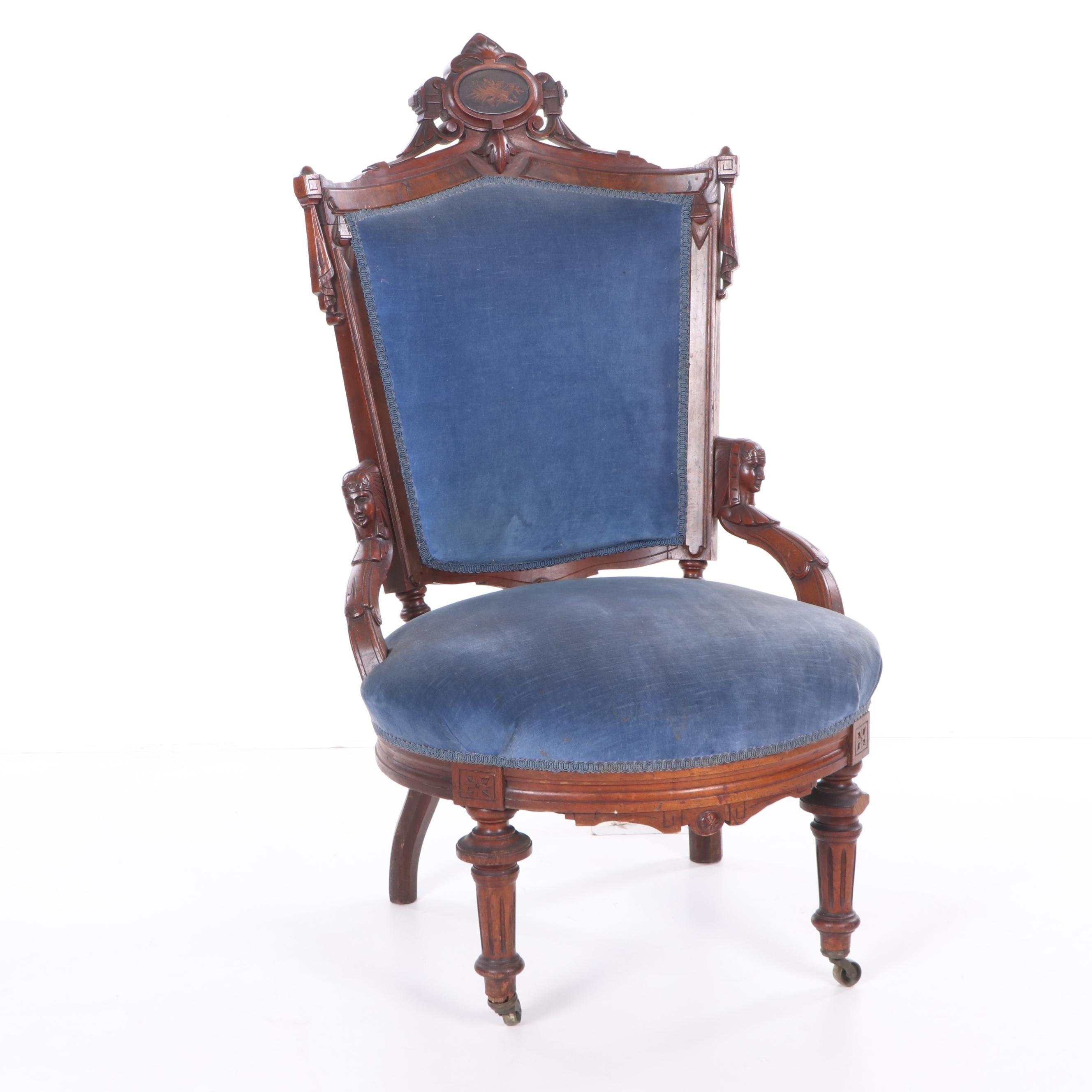 Late Victorian Mahogany Frame Upholstered Parlor Chair on Casters, Late 19th C.