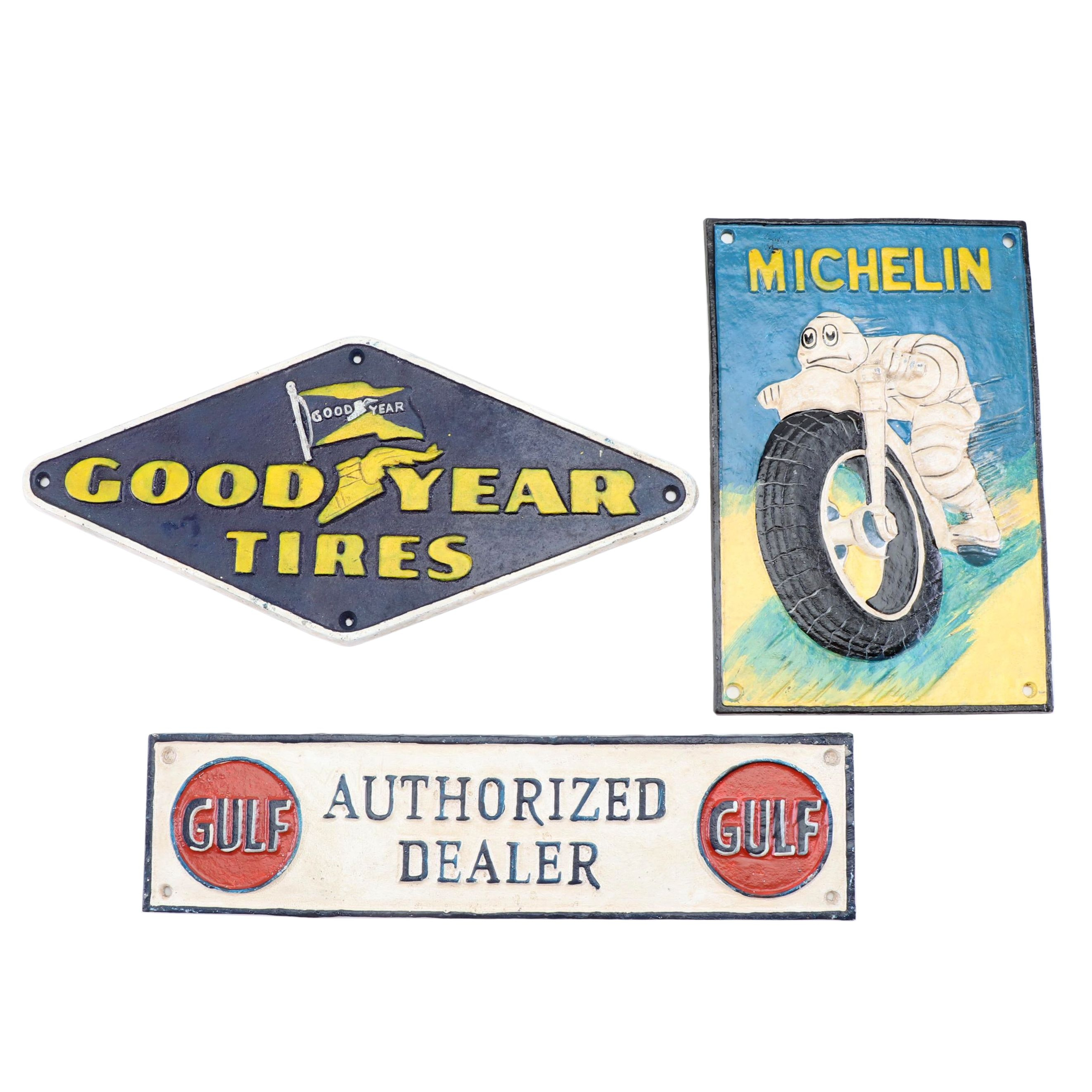 Cast Iron Reproduction Signs including Michelin and Good Year Tires