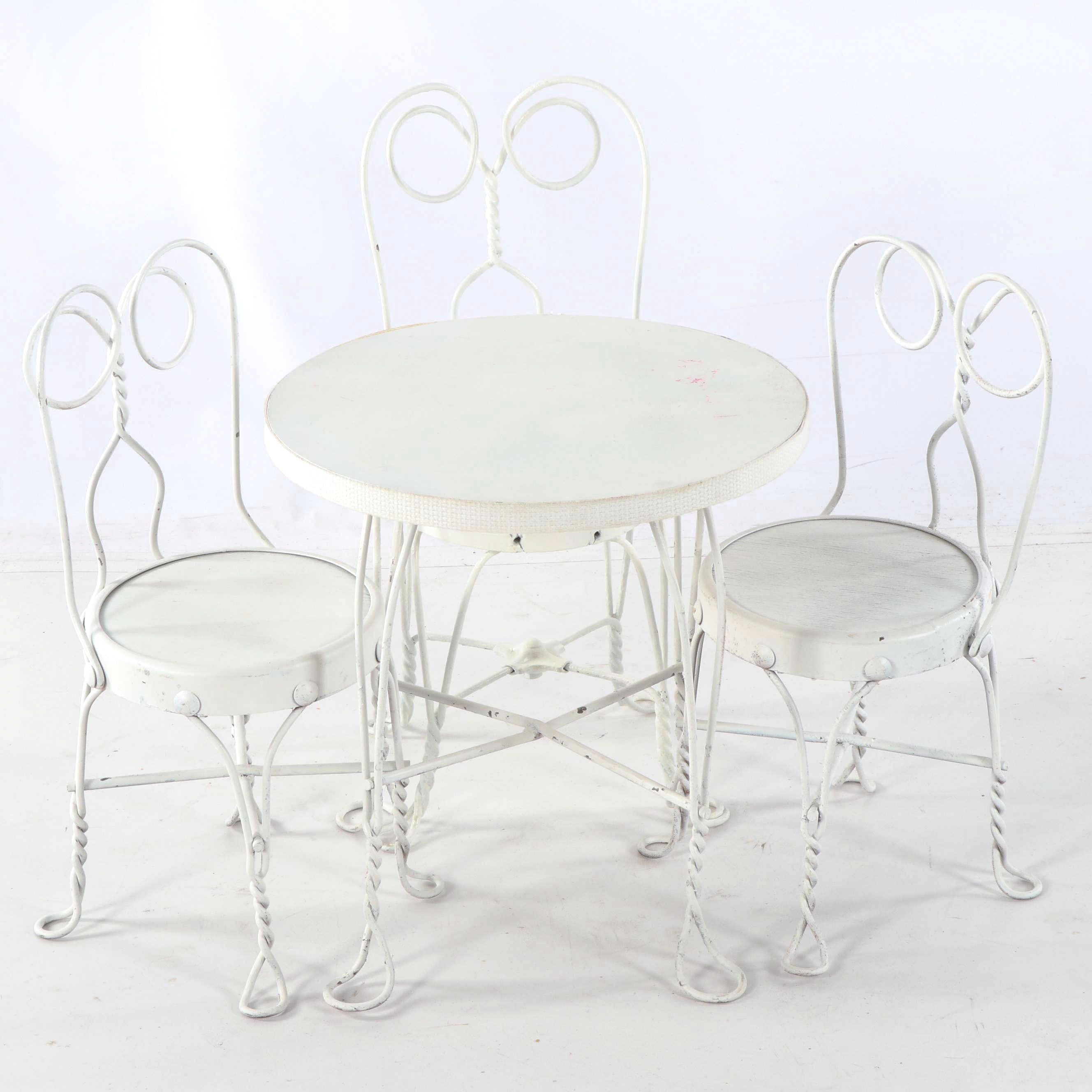 Children's Painted Metal Bistro Table and Chairs Set, 20th Century