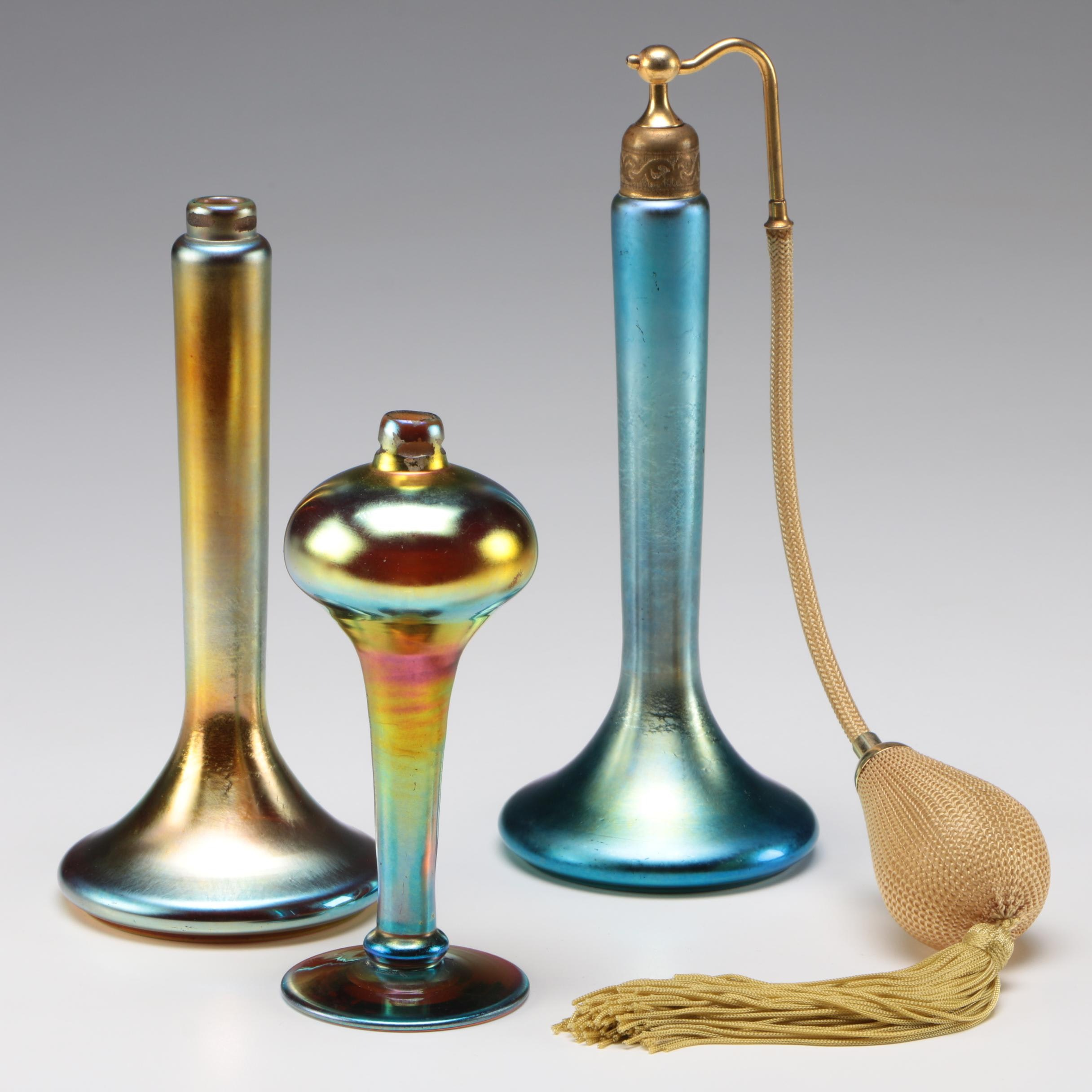 Steuben Blue and Gold Aurene Atomizers, Early 20th Century
