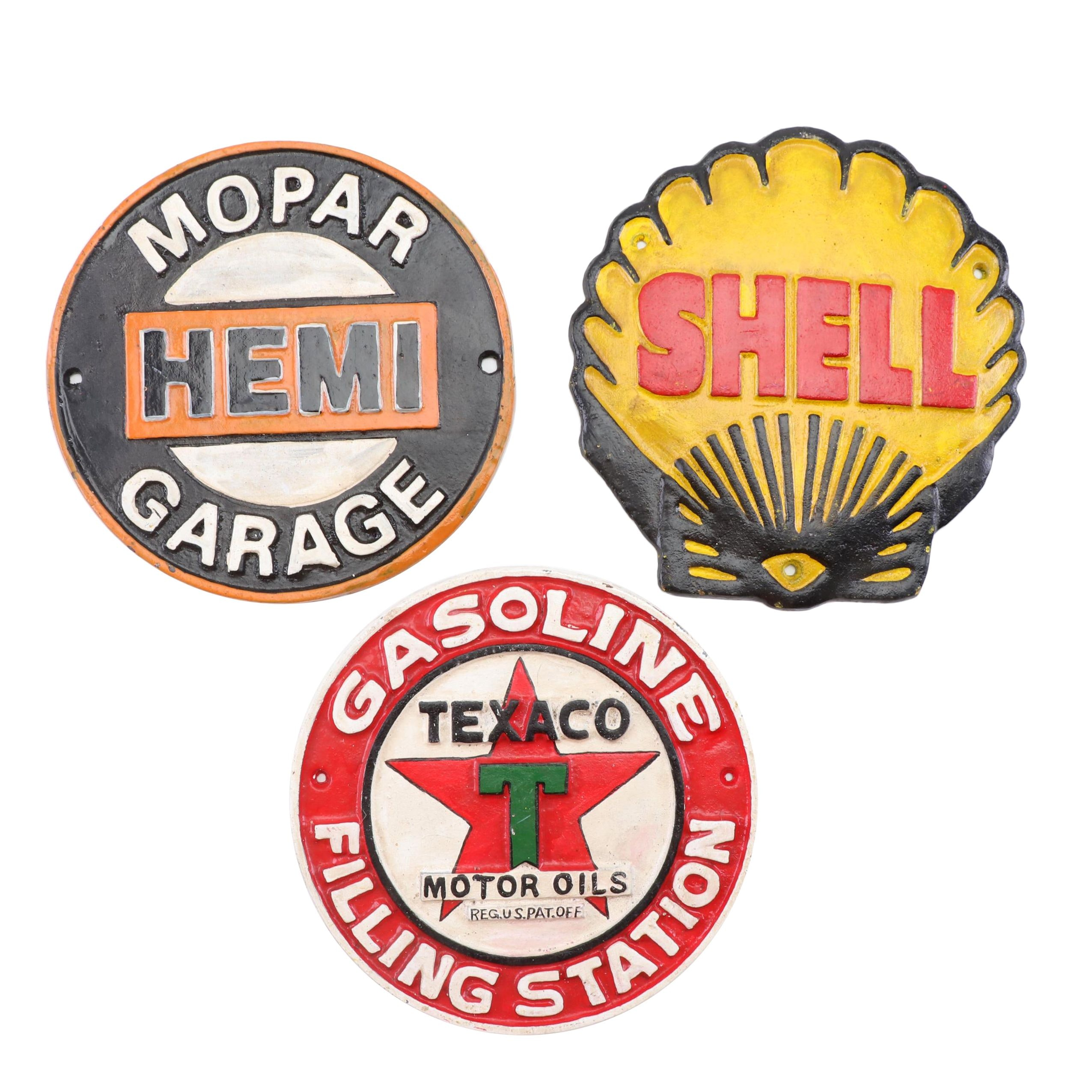 Cast Iron Reproduction Texaco, Shell, and Hemi Garage Signs