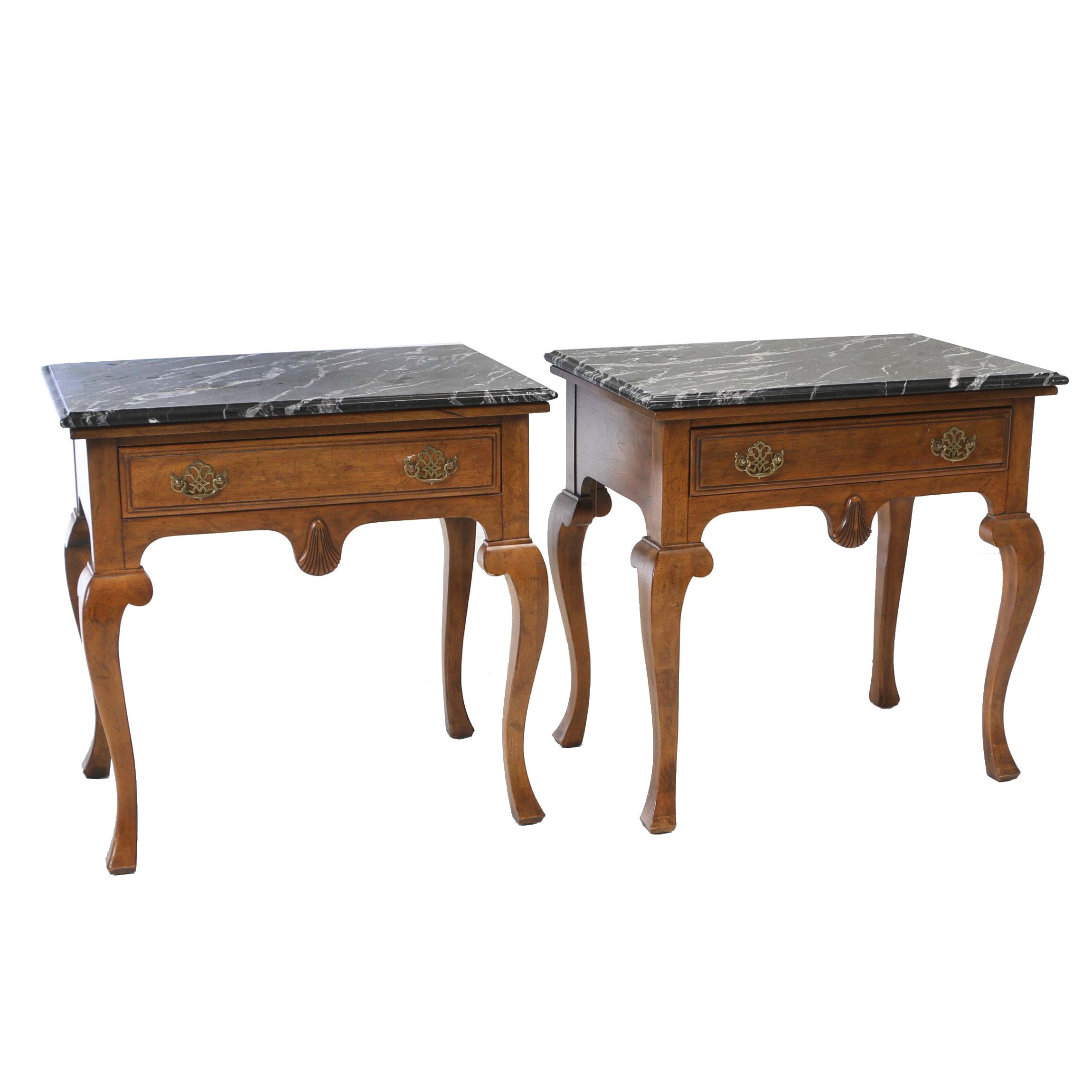 Pair of Walnut and Black Marble Limited Edition Side Tables by Davis Cabinet Co.