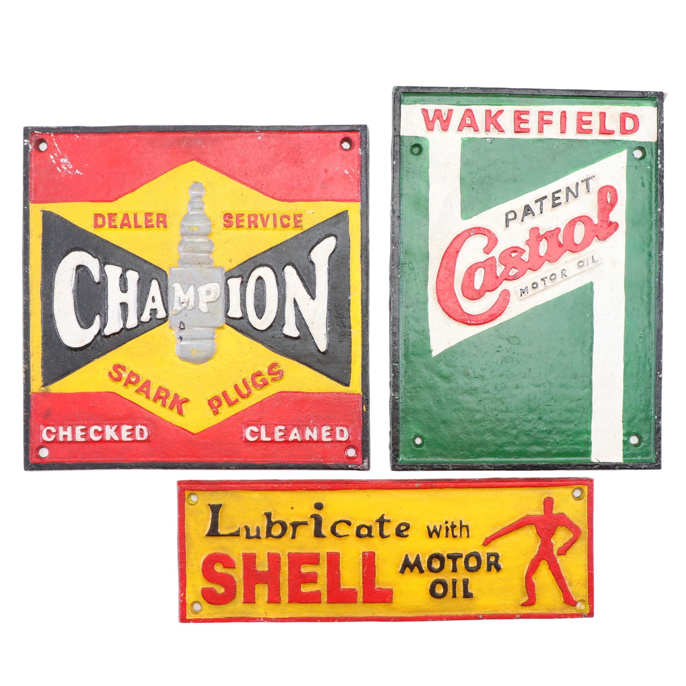 Reproduction Cast Iron Advertising Signs Including Shell
