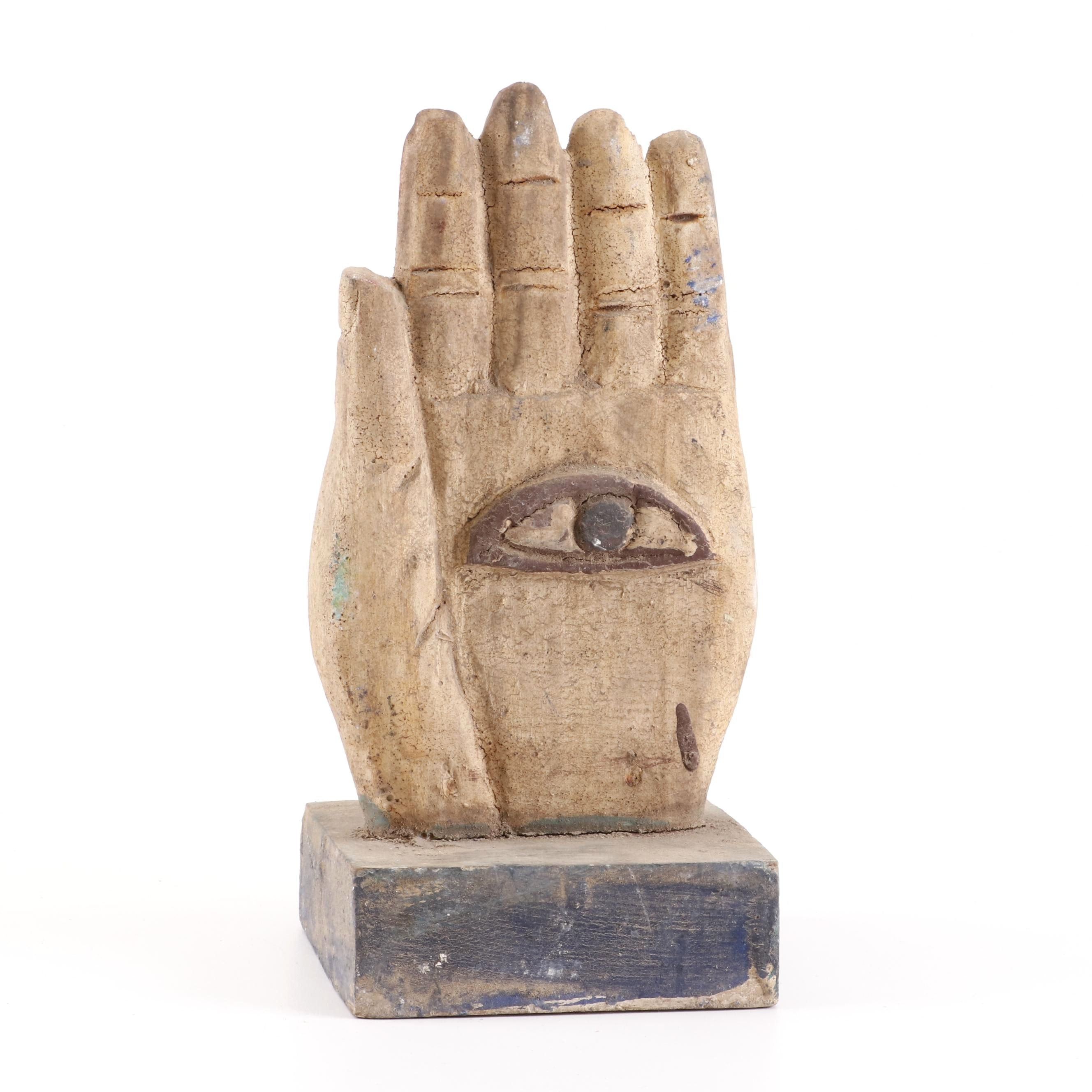 "Carved Wood ""Eye in Hand"" Hand Sculpture"
