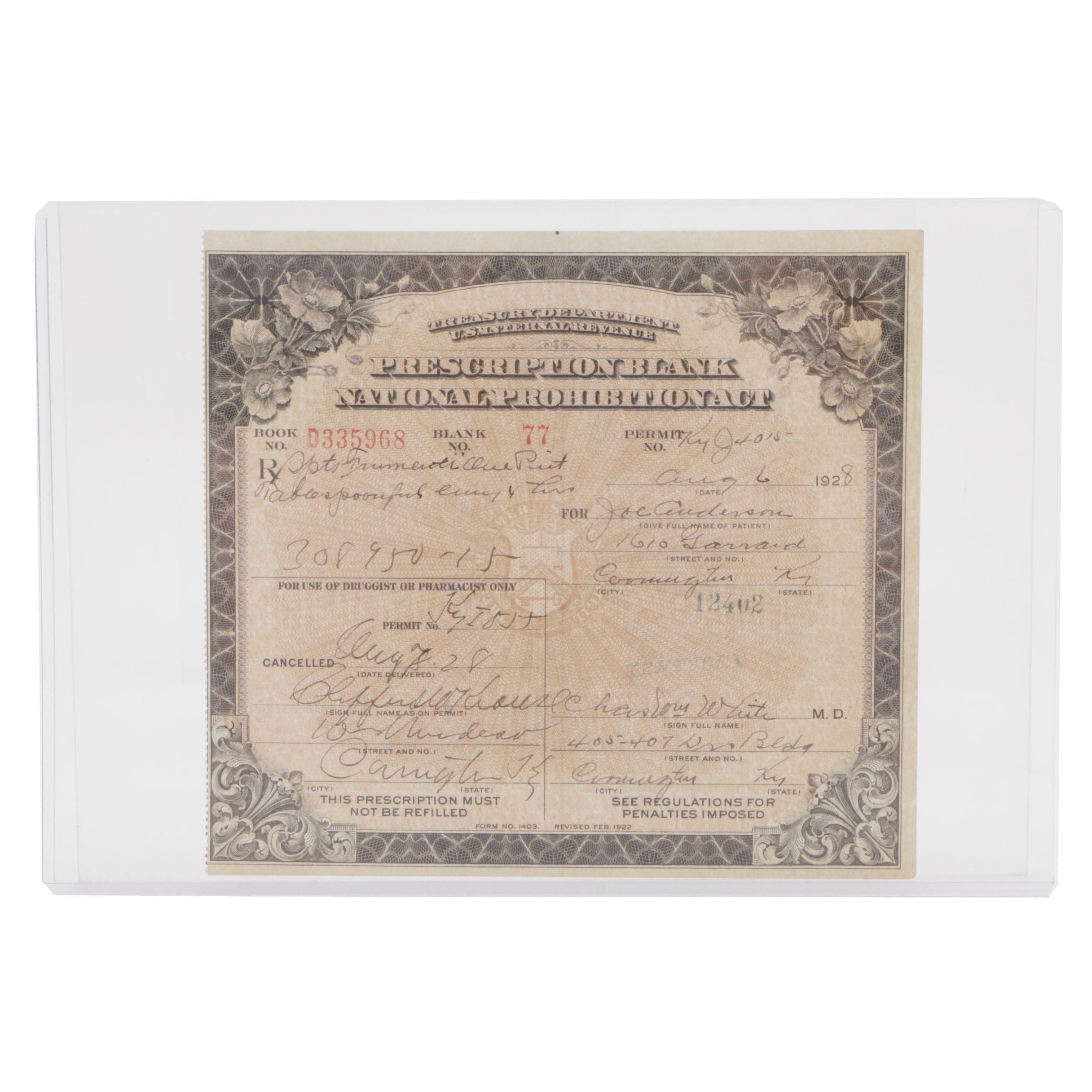 1928 Prohibition Era Alcohol Prescription from Kentucky