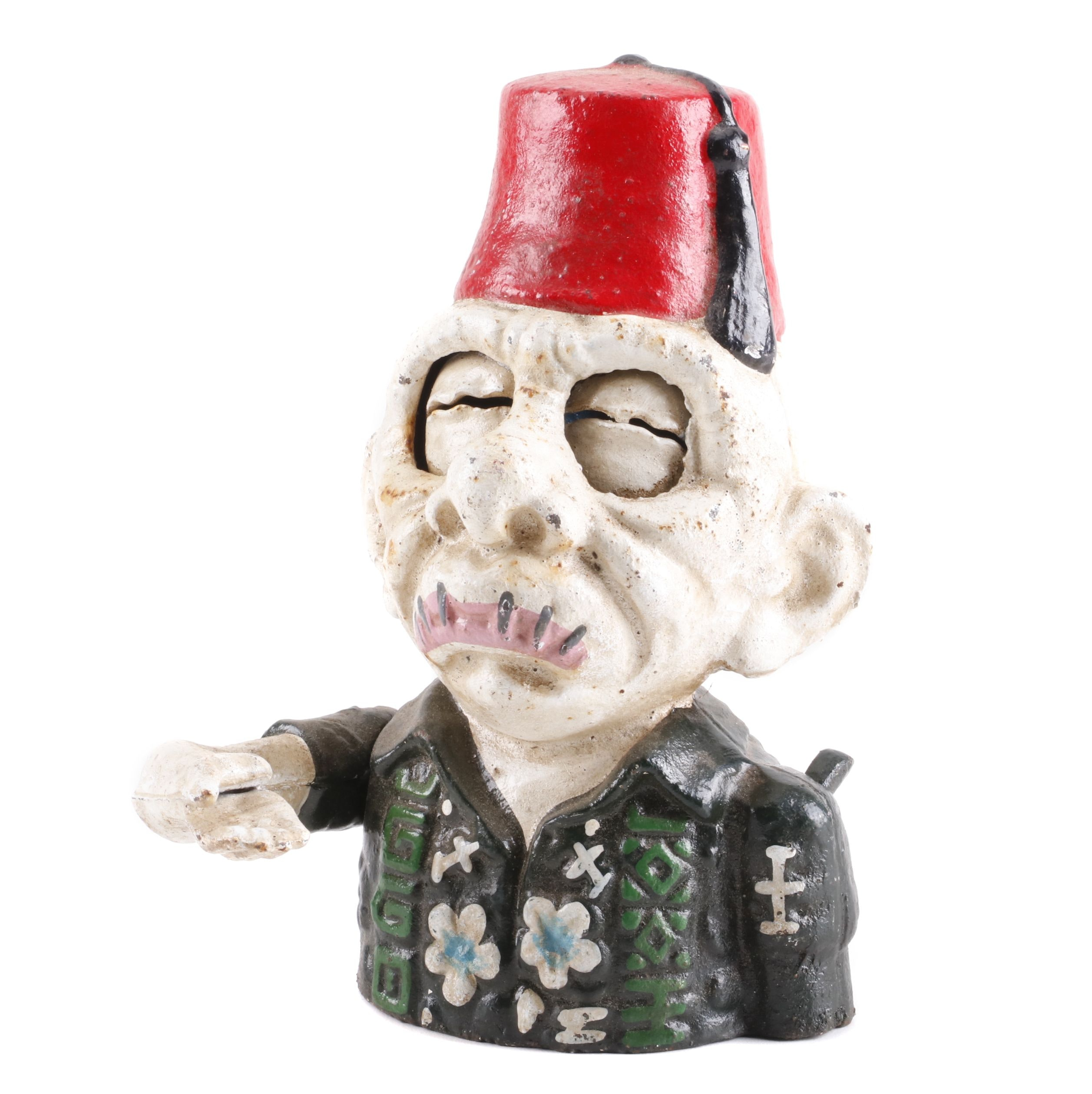"""Reproduction Cast Iron """"Alfredo"""" Zombie Shriner Coin Bank"""