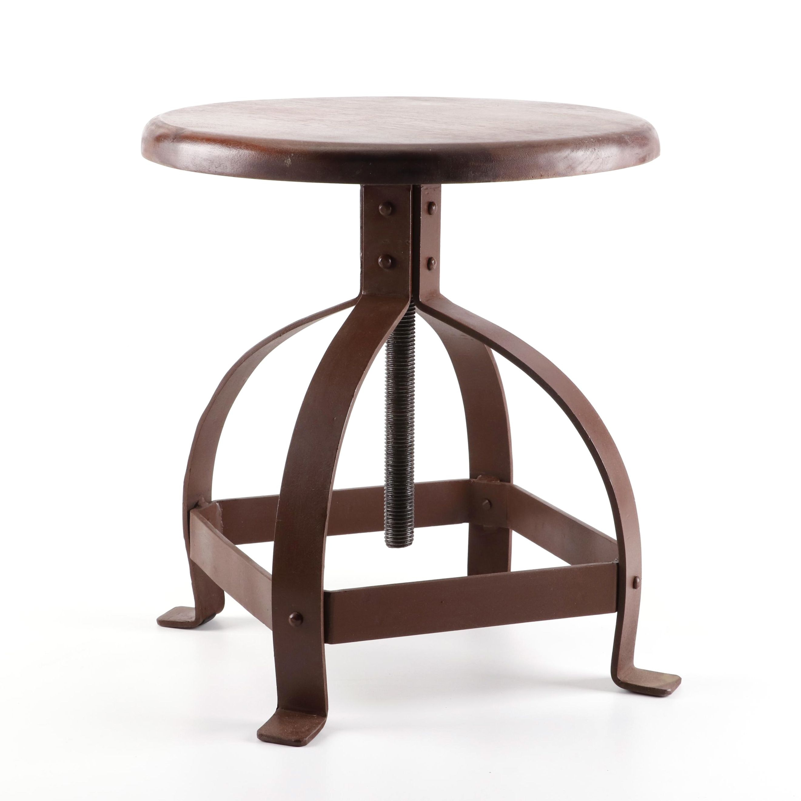 Industrial Style Metal and Wood Adjustable Stool, 21st Century