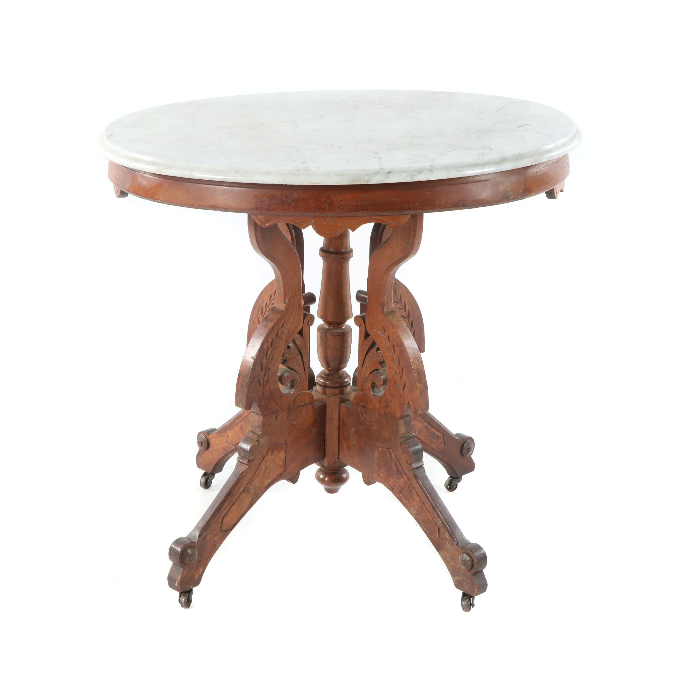 Victorian Eastlake Walnut and Marble Side Table on Casters, Late 19th Century