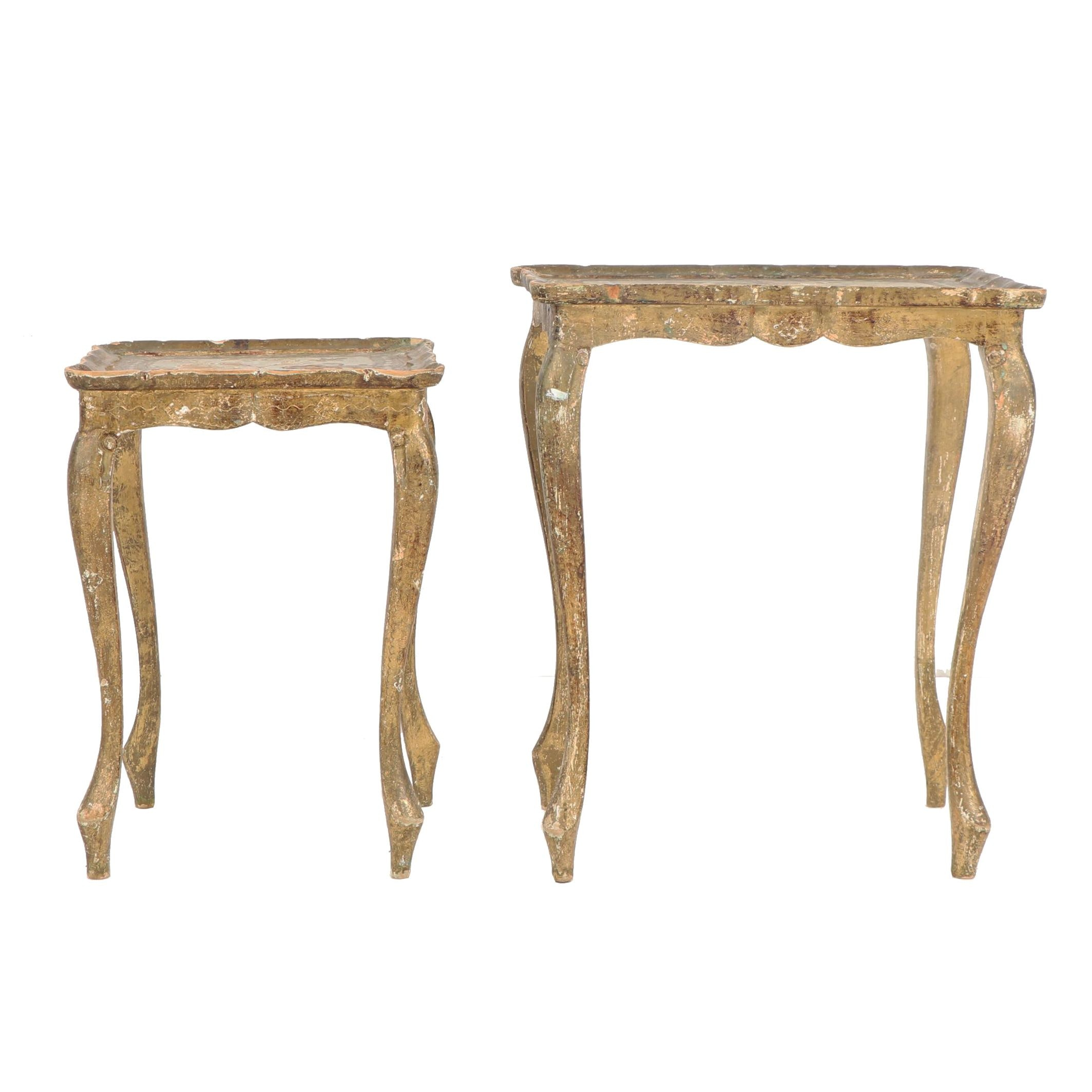 Florentine Style Painted Wooden Nesting Table Pair, 19th/ 20th Century
