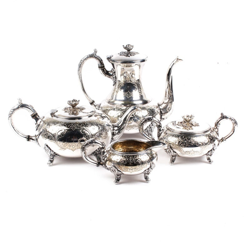 Hand Chased Silver Plate Coffee and Tea Service