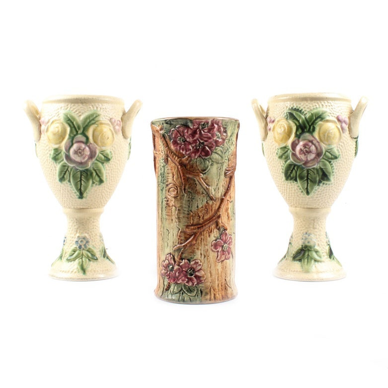 "Weller ""Woodcraft"" and Roseville ""Rozane"" Vases, Early to Mid 20th Century"