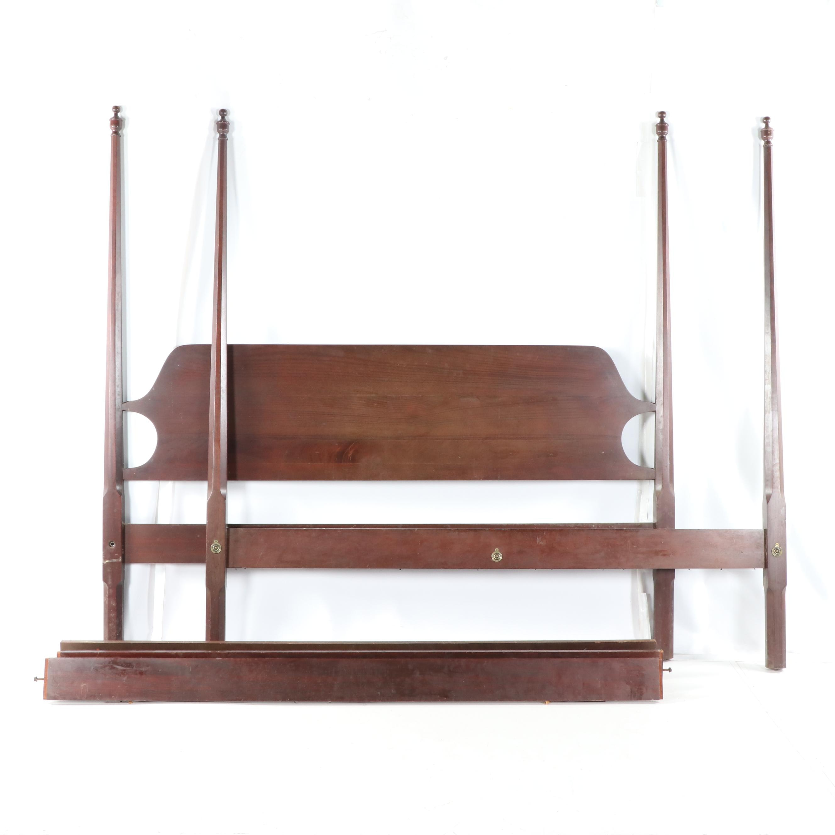 Federal Style Mahogany King Size Four Poster Bed Frame, Mid-20th Century