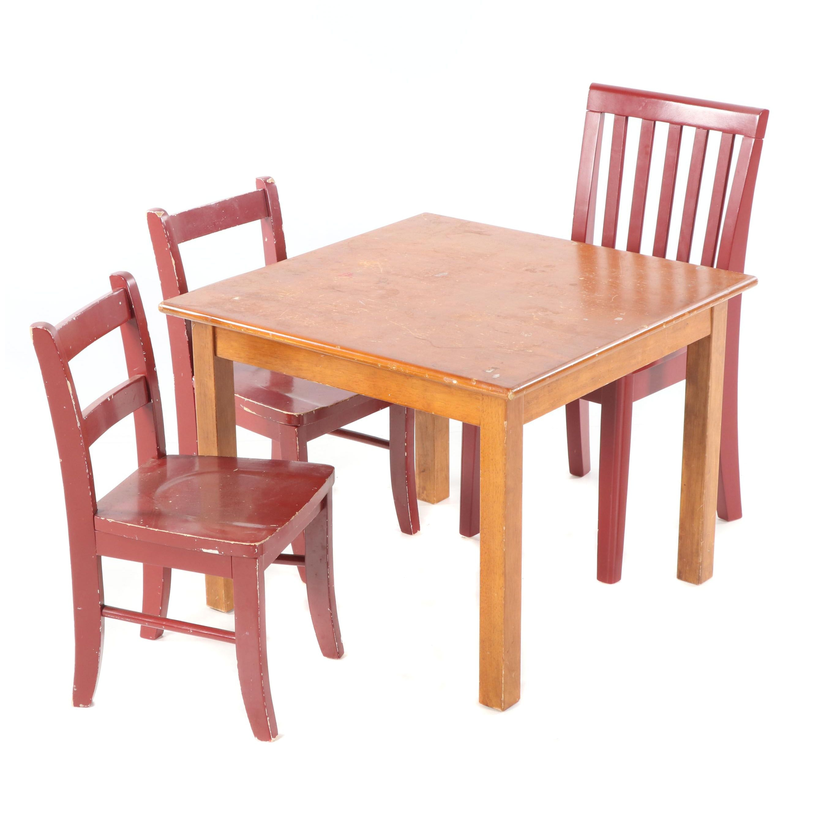 Wooden Children's Table with Painted Side Chairs by Pottery Barn, 21st Century