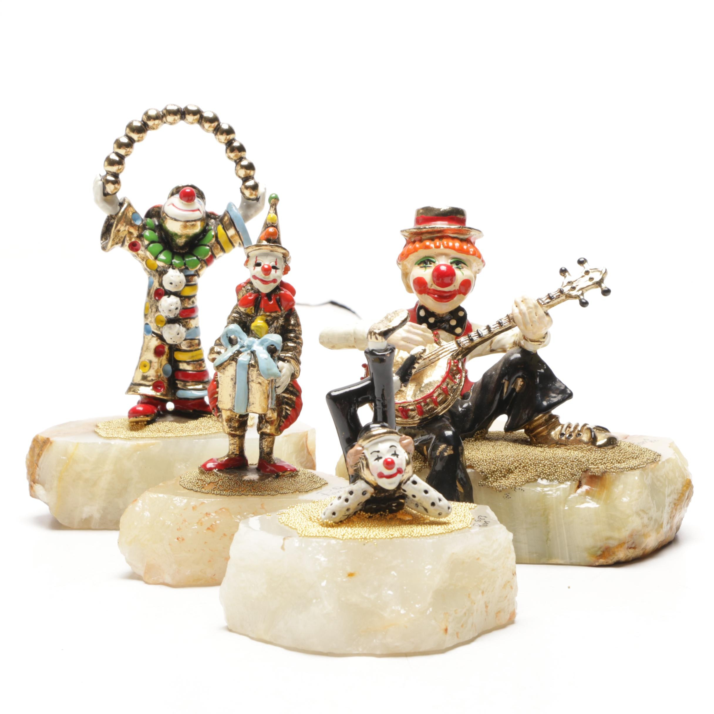 Ron Lee Handcrafted Metal Clown Figurines on Onyx Bases