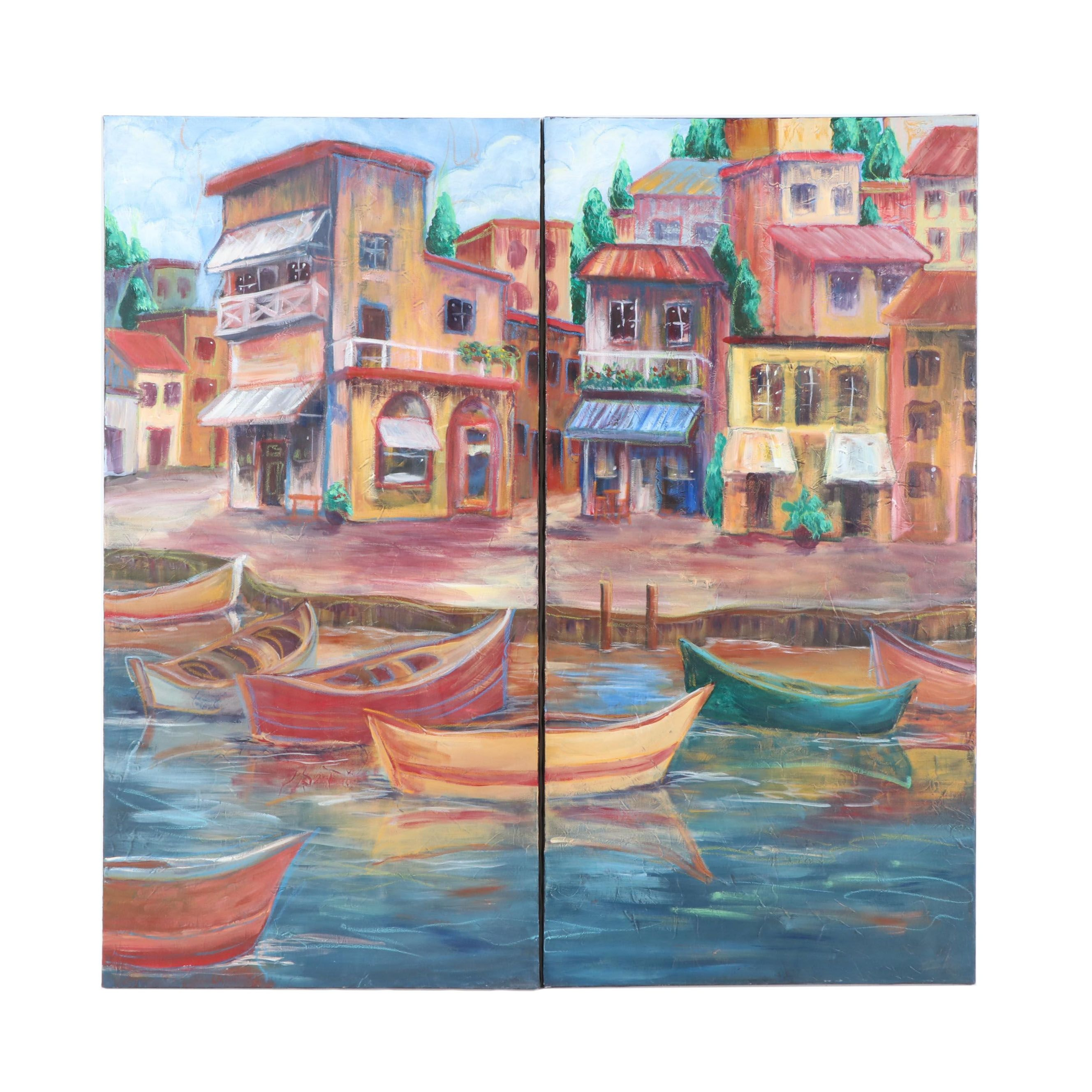 Diptych Acrylic Painting of Boats in Harbor
