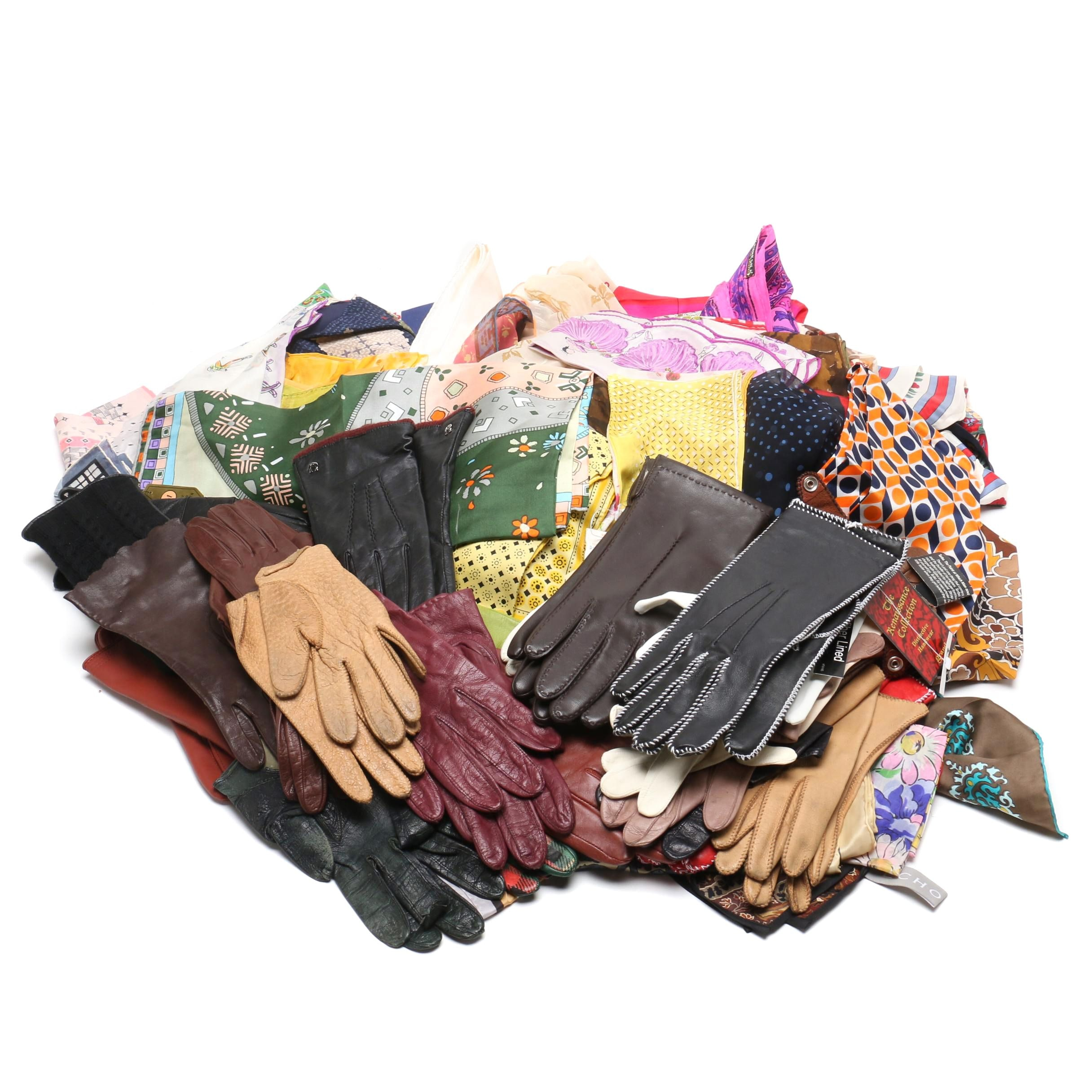Collection of Vintage Gloves and Silk Scarves Including Oscar de la Renta