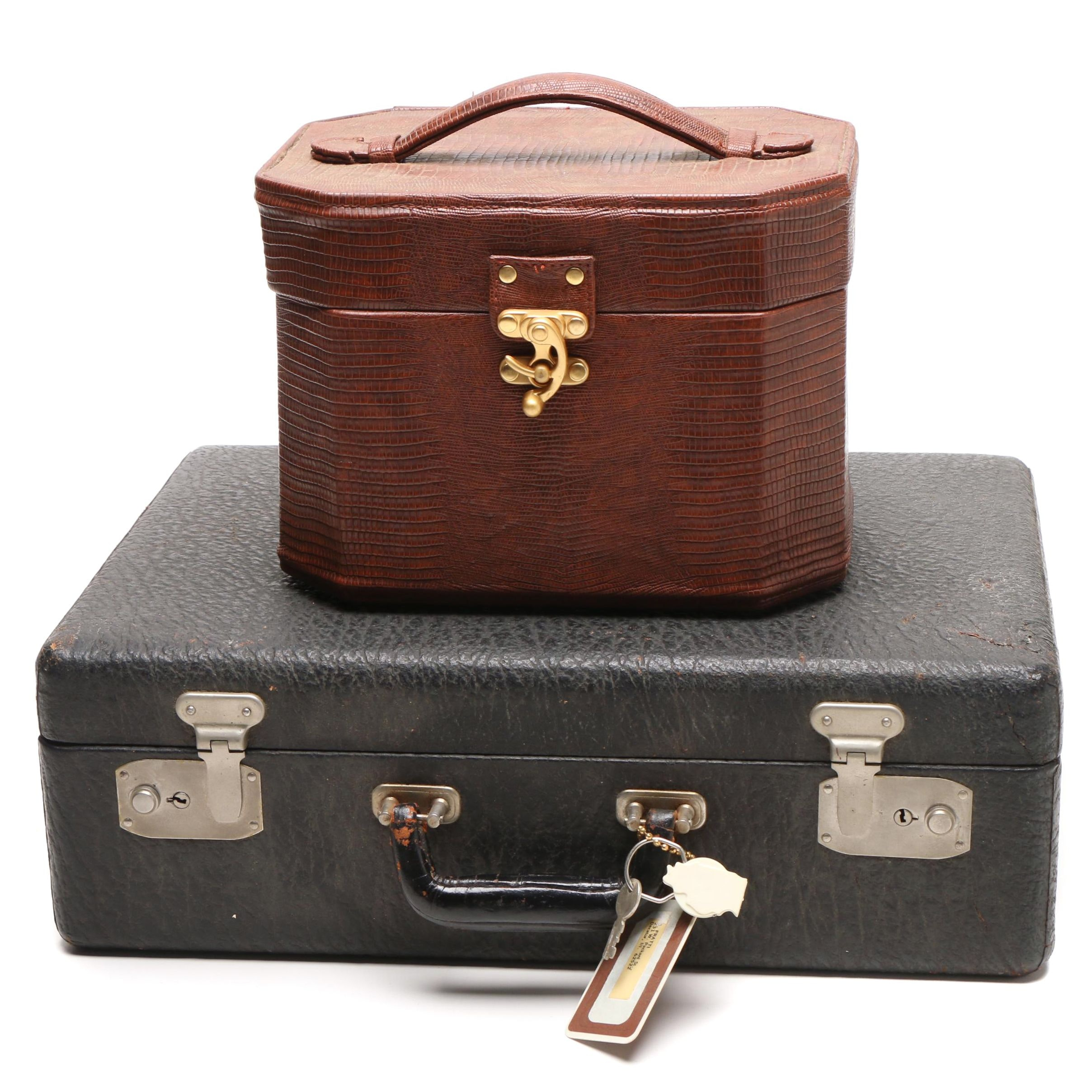 Women's Vintage Textured and Embossed Travel Cases with Accessories