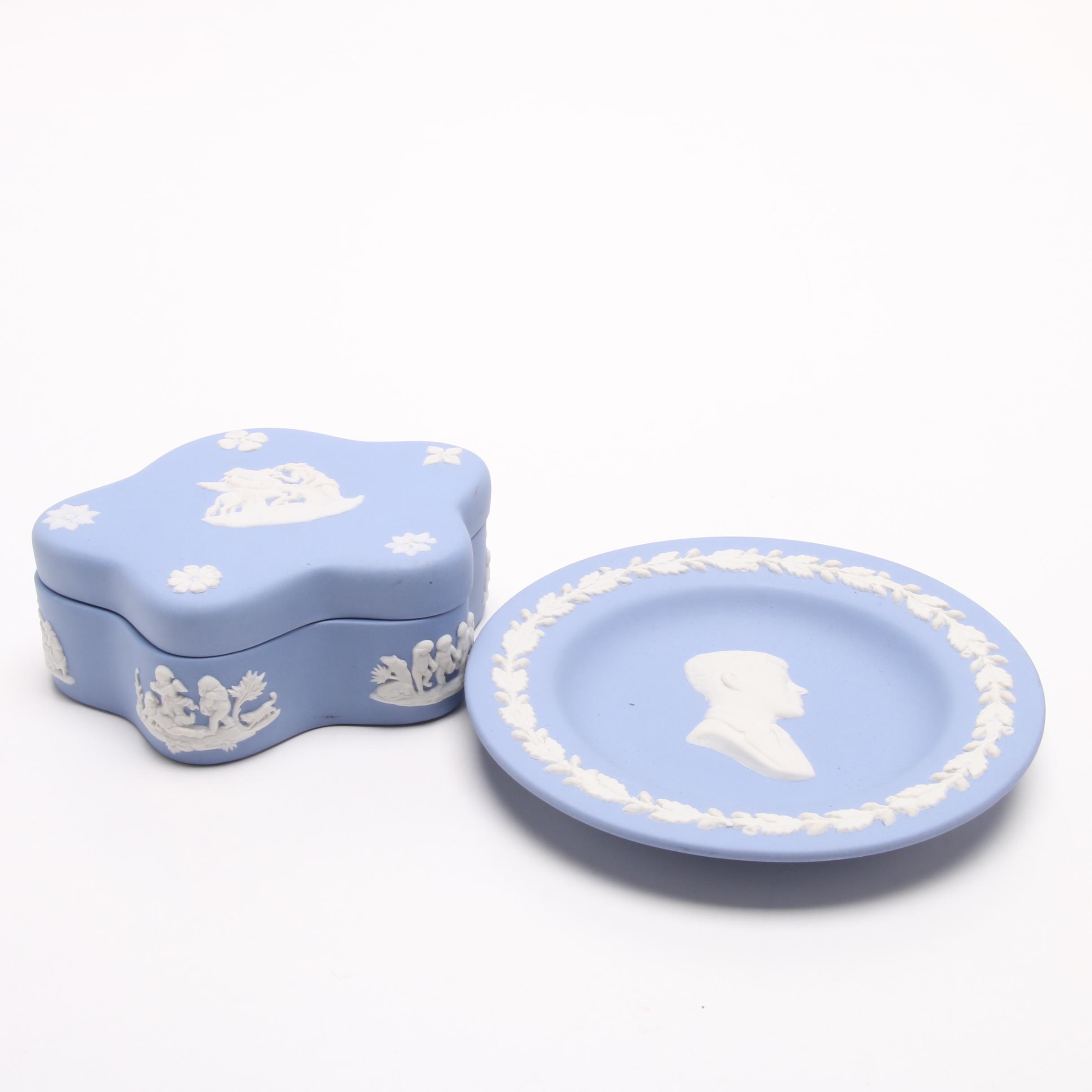 Wedgwood Pale Blue Jasperware Trinket Box and Plate