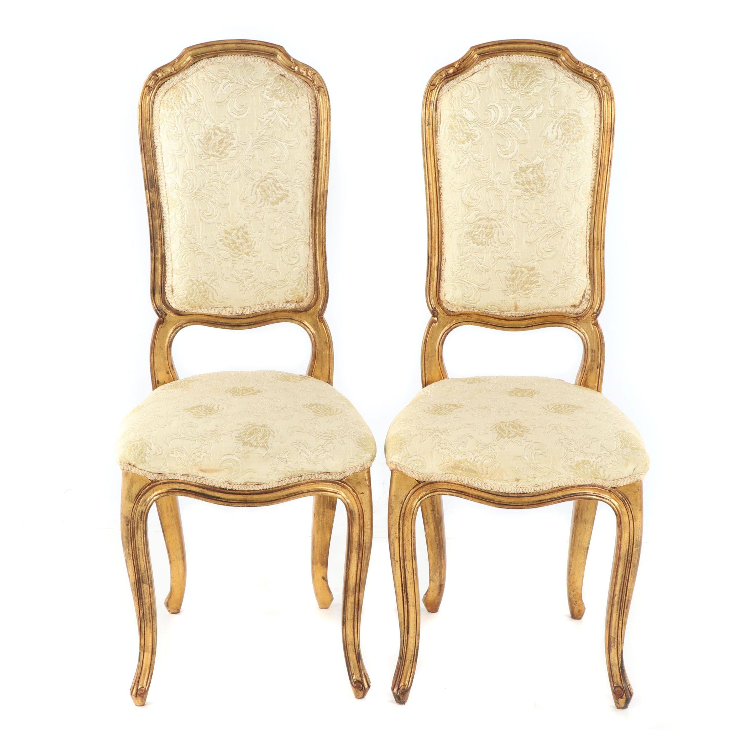 French Provincial Style Painted Wood Frame Upholstered Side Chairs, Late 20th C.