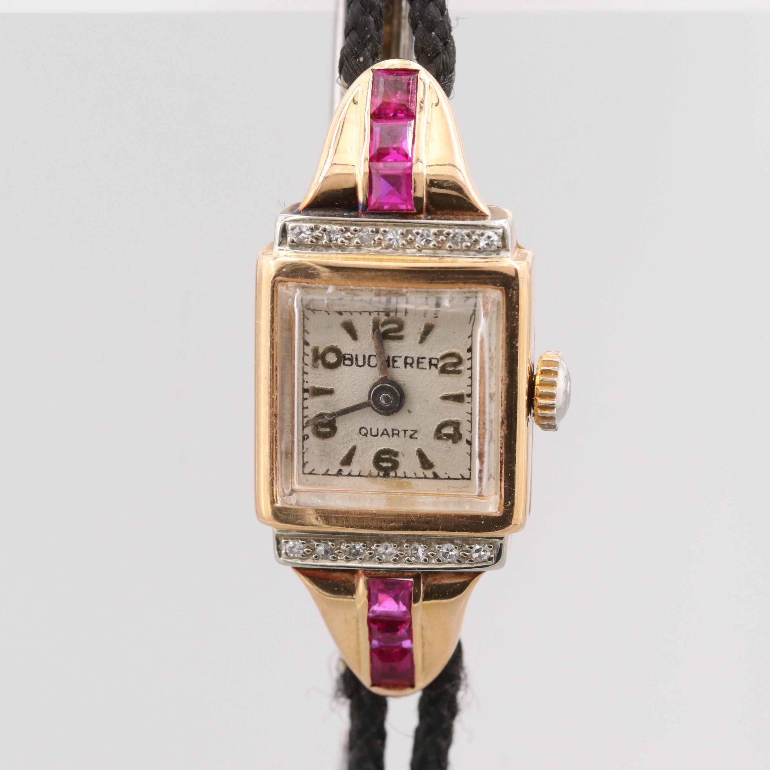 Bucherer 18K Yellow Gold Diamond and Synthetic Ruby Quartz Wristwatch