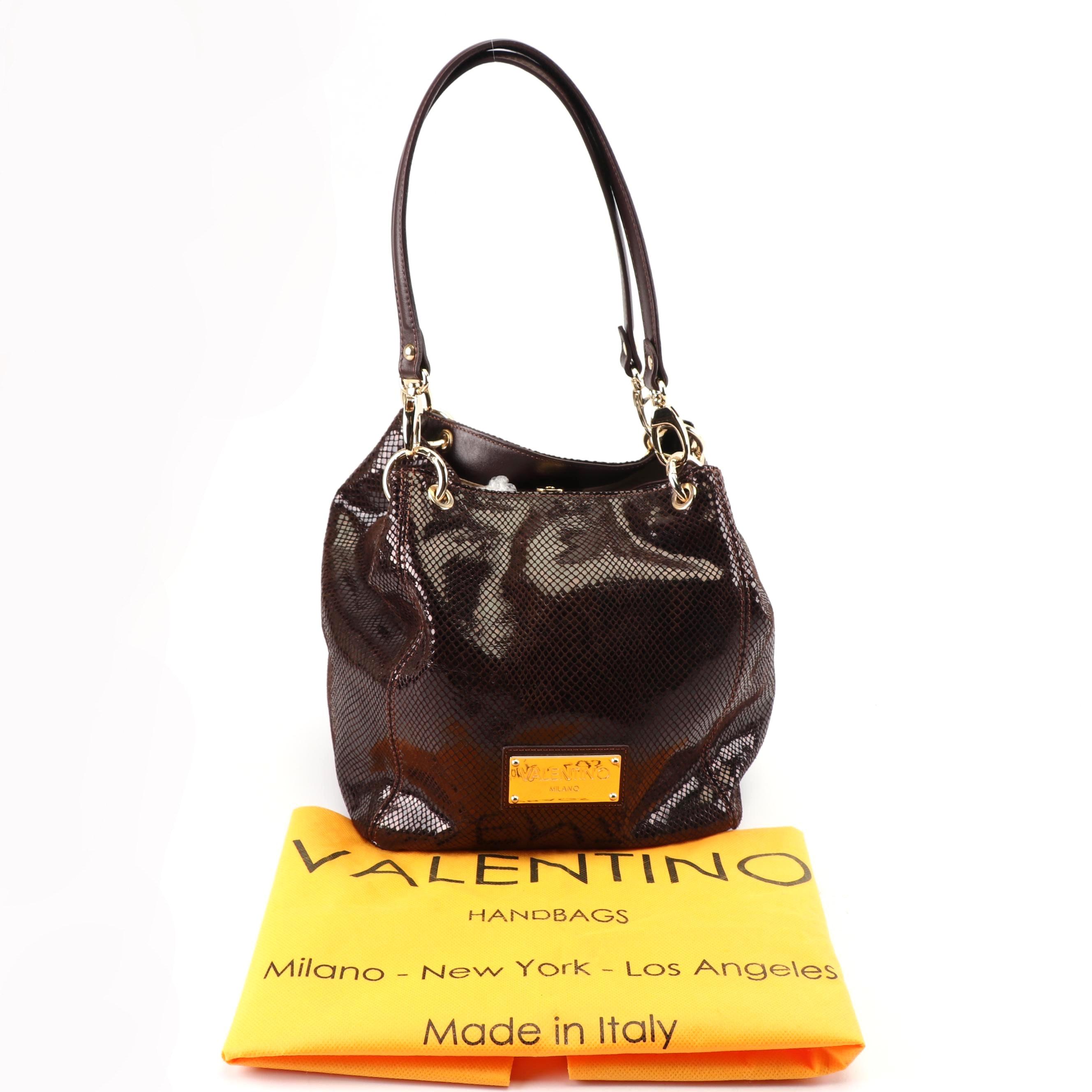 Mario Valentino Spa Bag Faux Snakeskin Burgundy Leather Top Handled Handbag