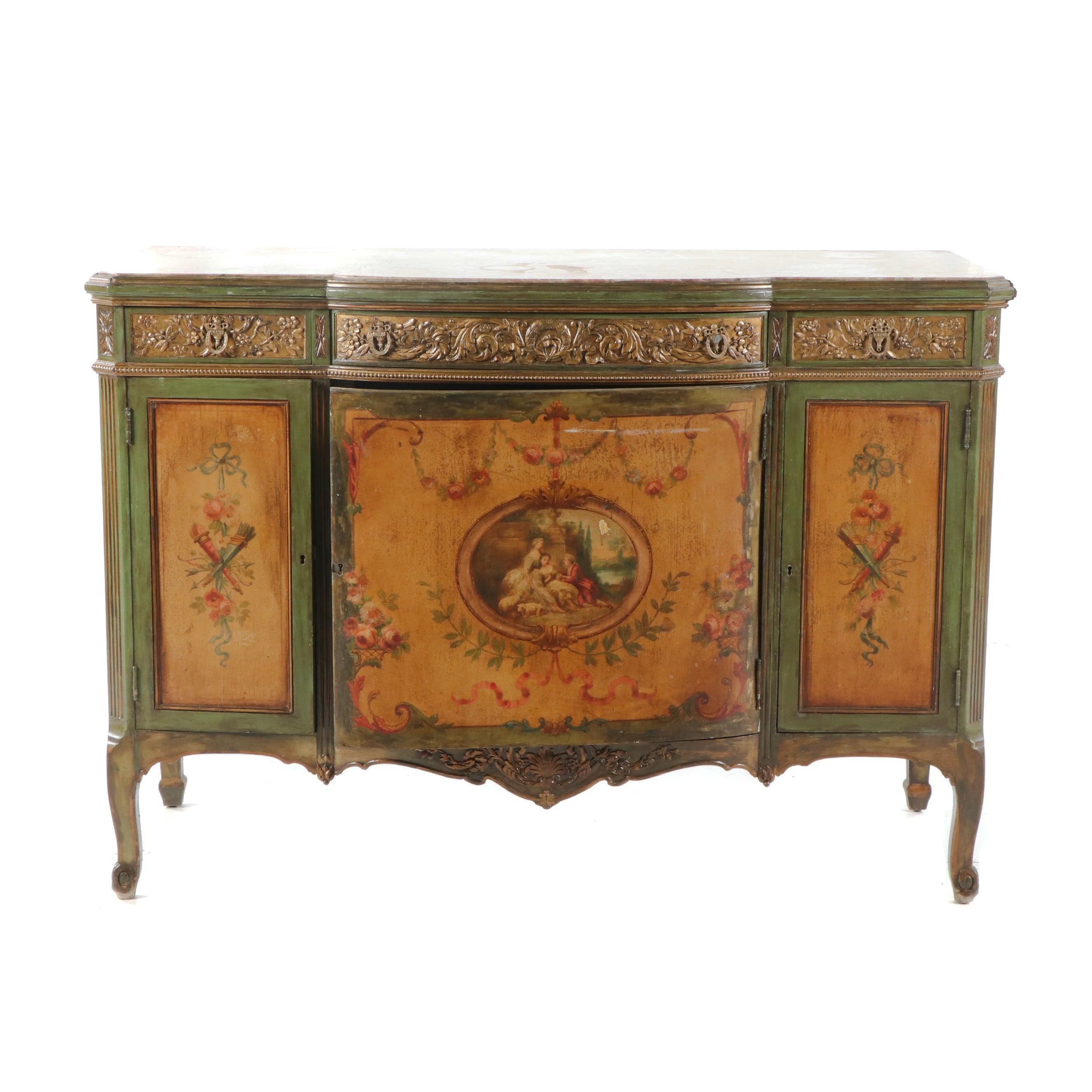 Louis XV Style Painted Wood and Stone Sideboard, Early 20th Century