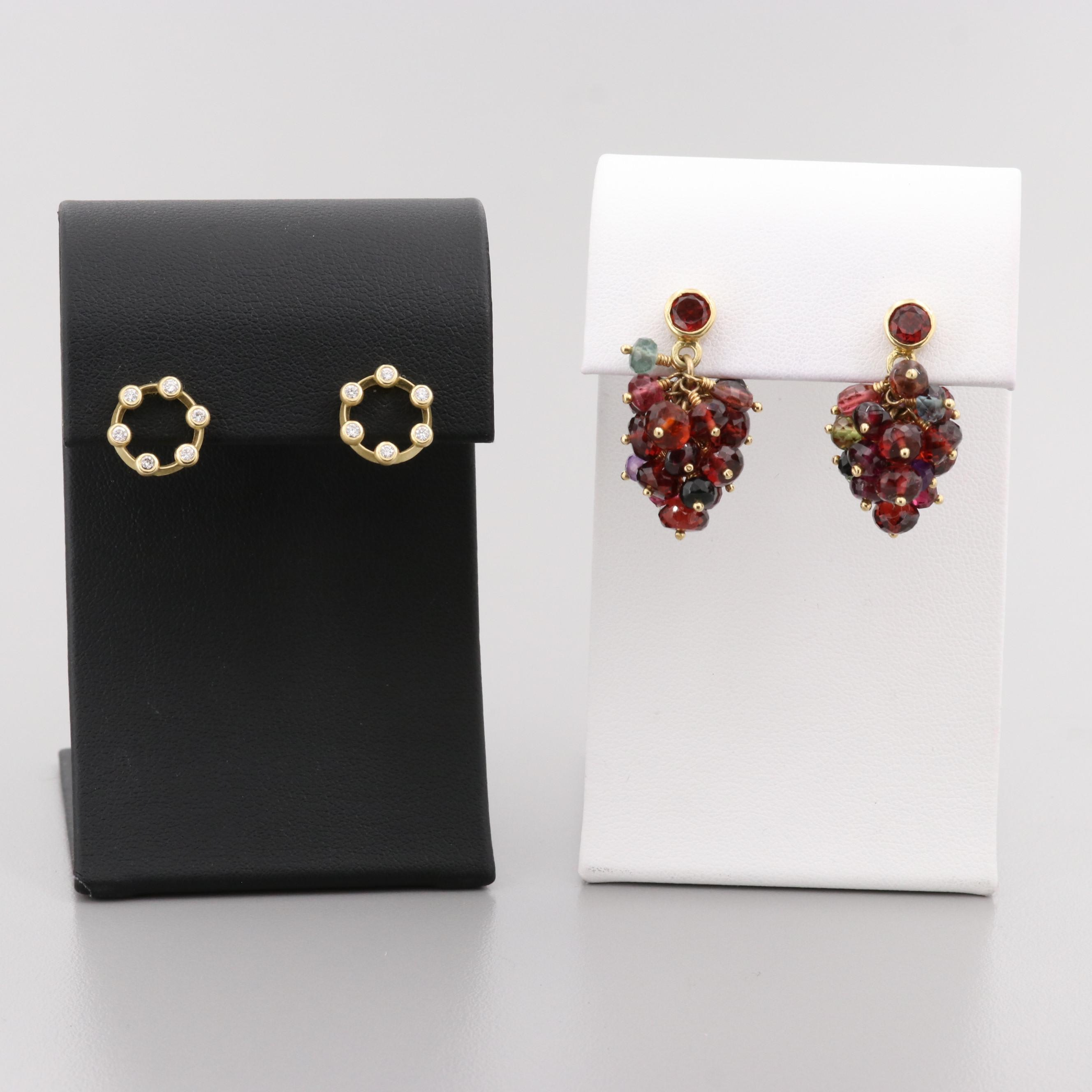 Two Pair of 18K Yellow Gold Diamond and Gemstone Earrings