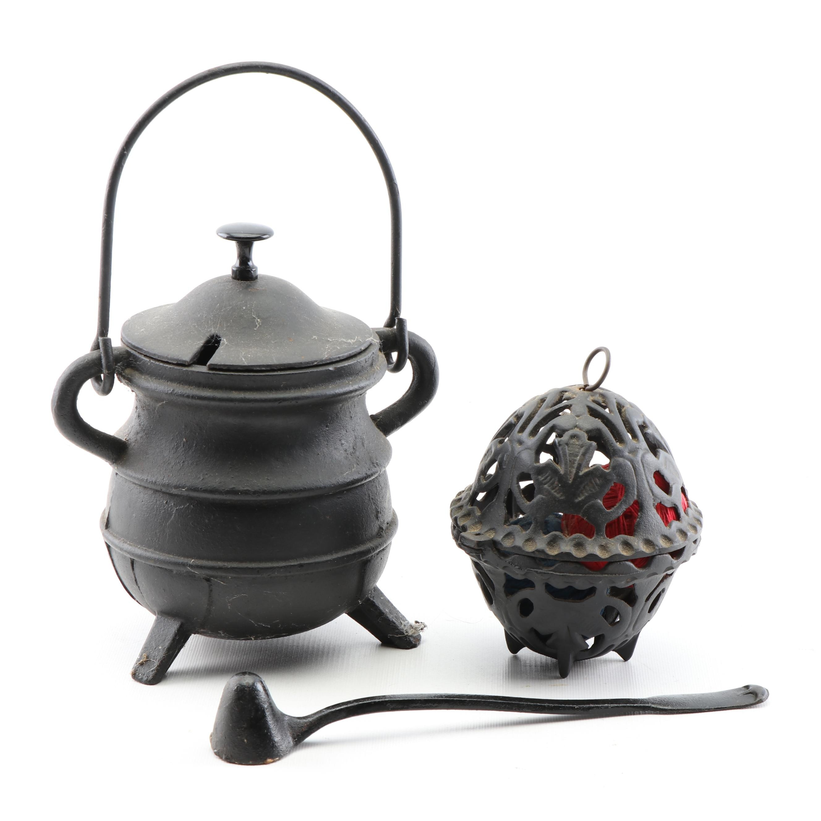 Cast Iron Twine Keeper, Candle Snuffer and Kettle