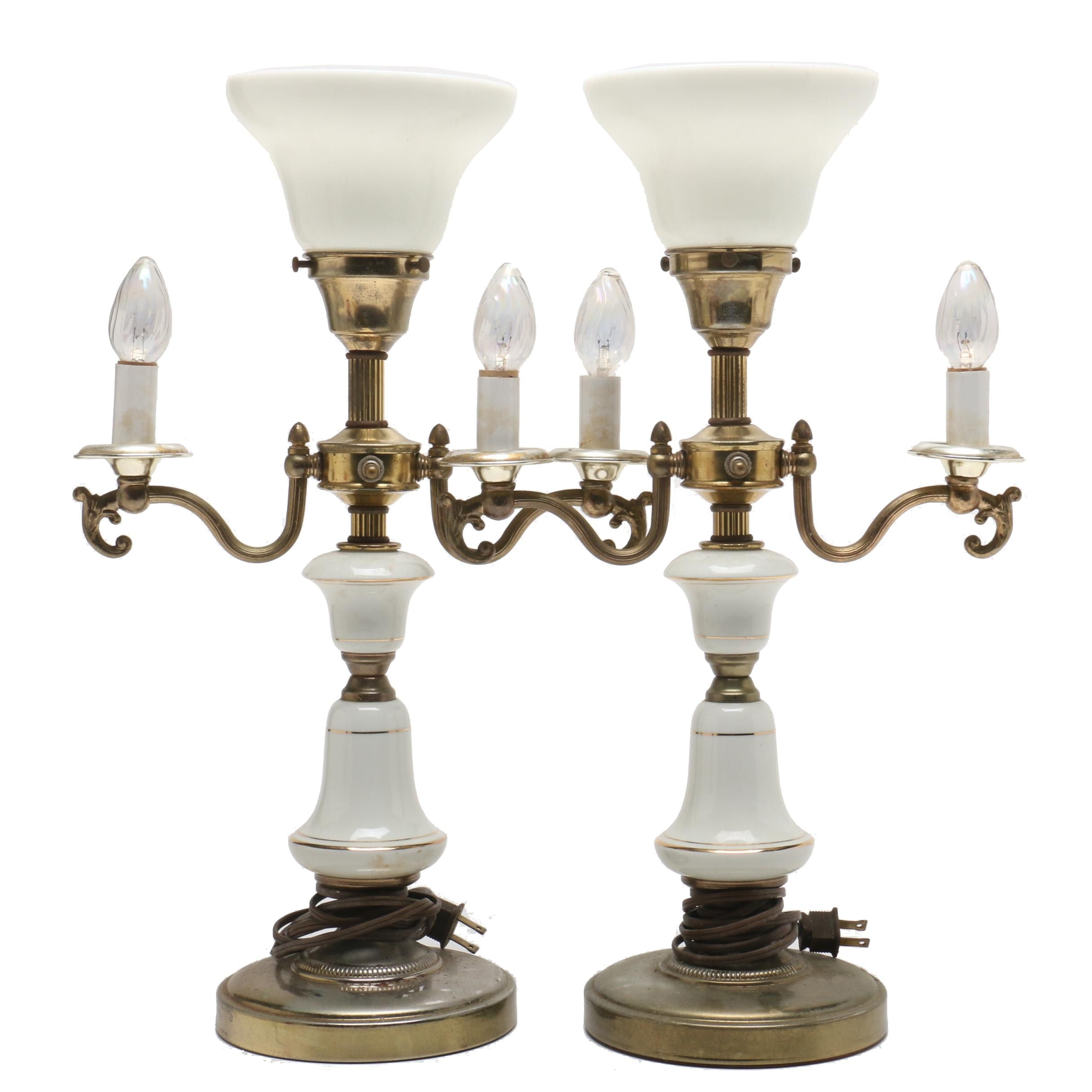 Brass and Porcelain Double-Arm Torchiere Table Lamps