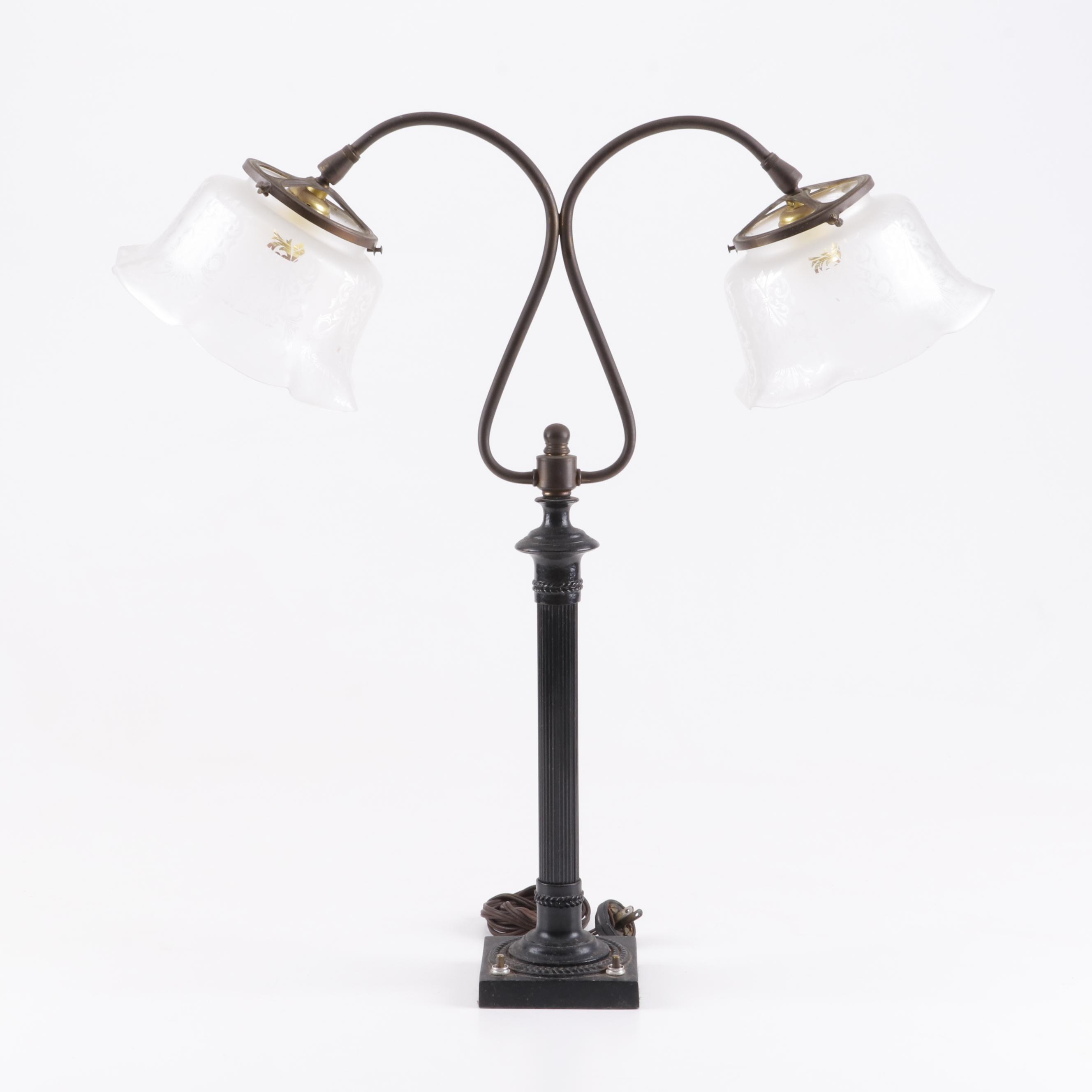 Art Deco Style Double Gooseneck Columnar Table Lamp