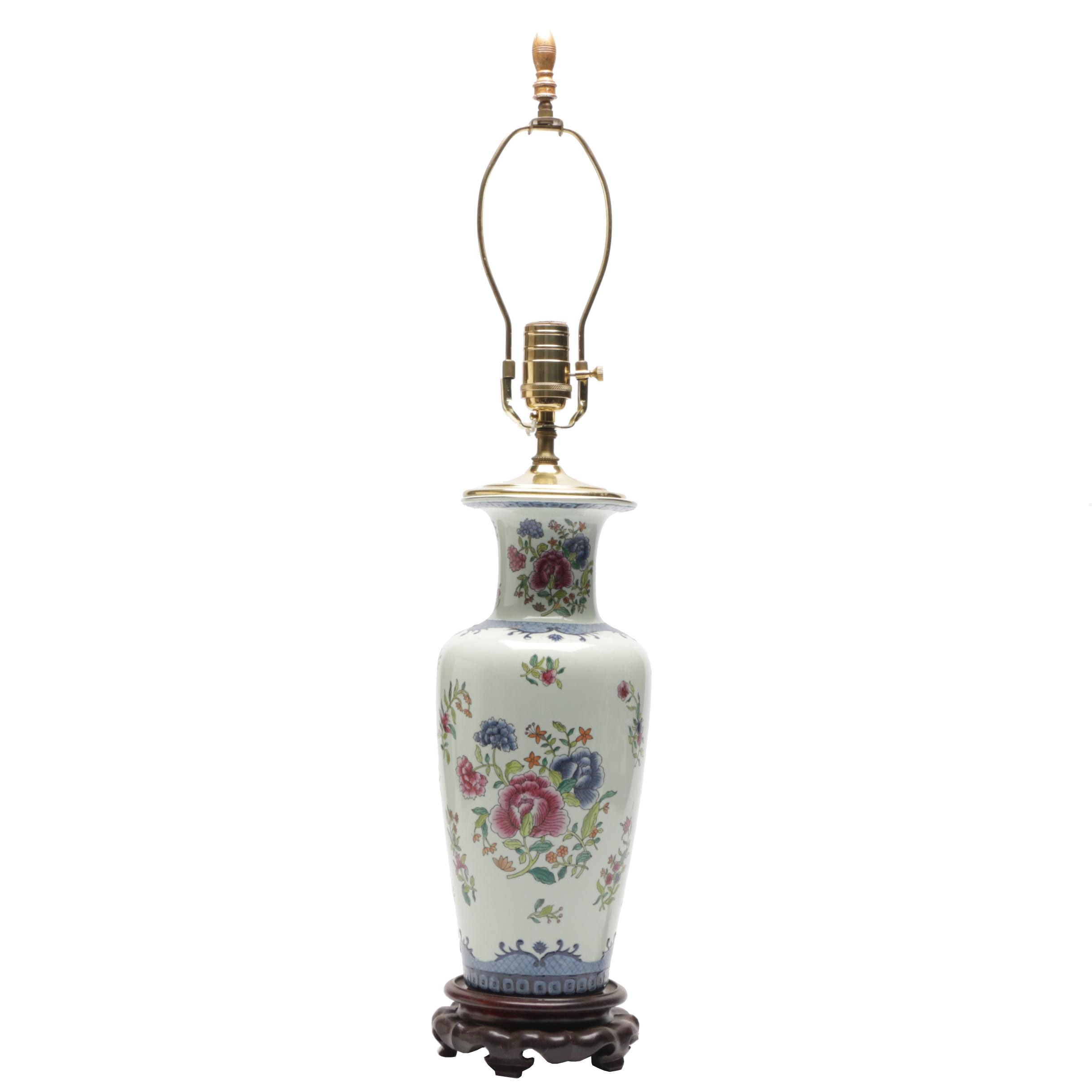 Hand-Painted Porcelain Floral Motif Vase Table Lamp