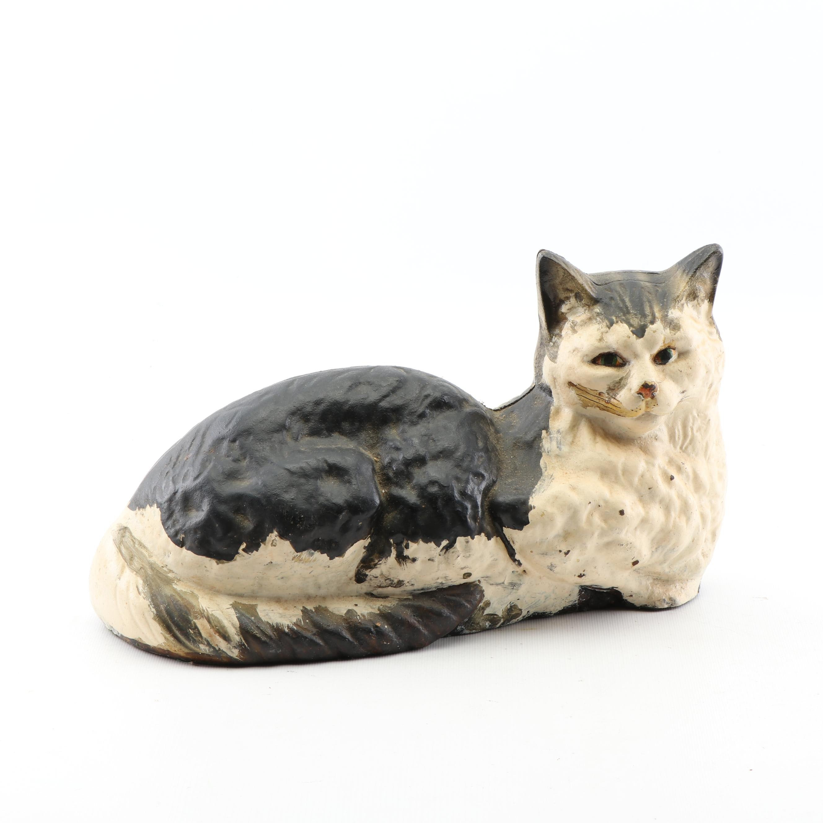 Cast Iron Hubley Style Cat Doorstop, Early to Mid 20th Century