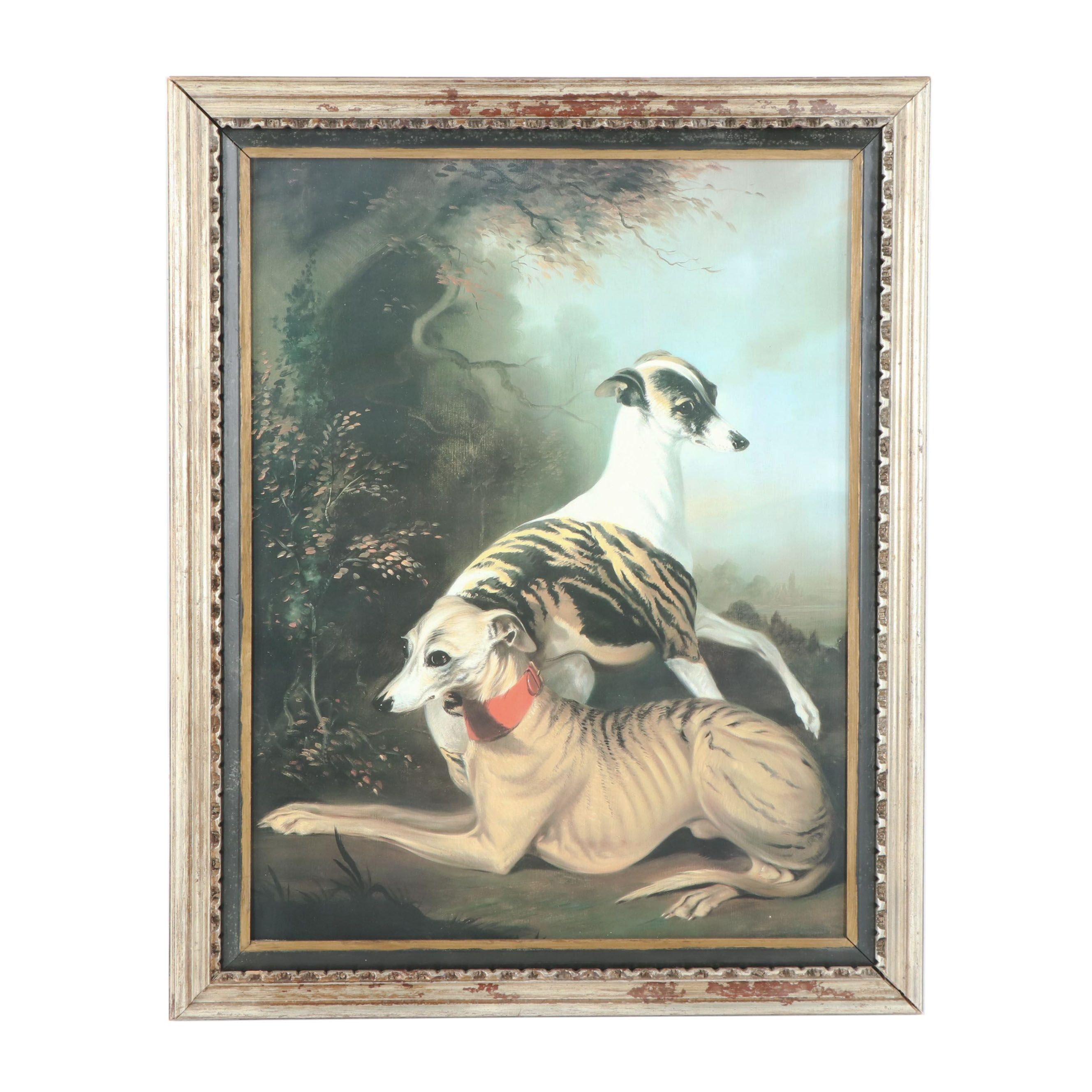 Offset Lithograph of Whippets