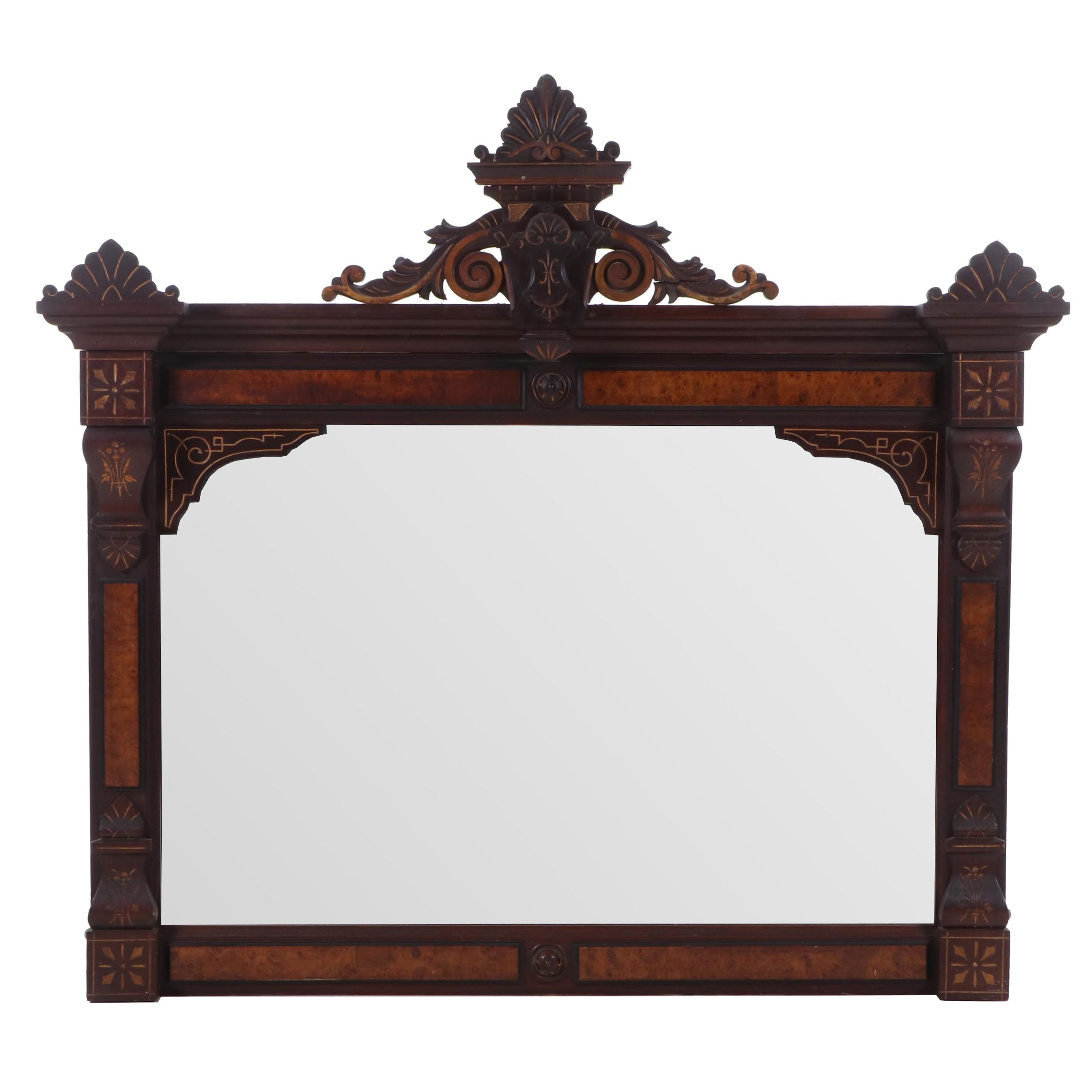 Victorian Eastlake Overmantel Mirror, Late 19th - Early 20th Century