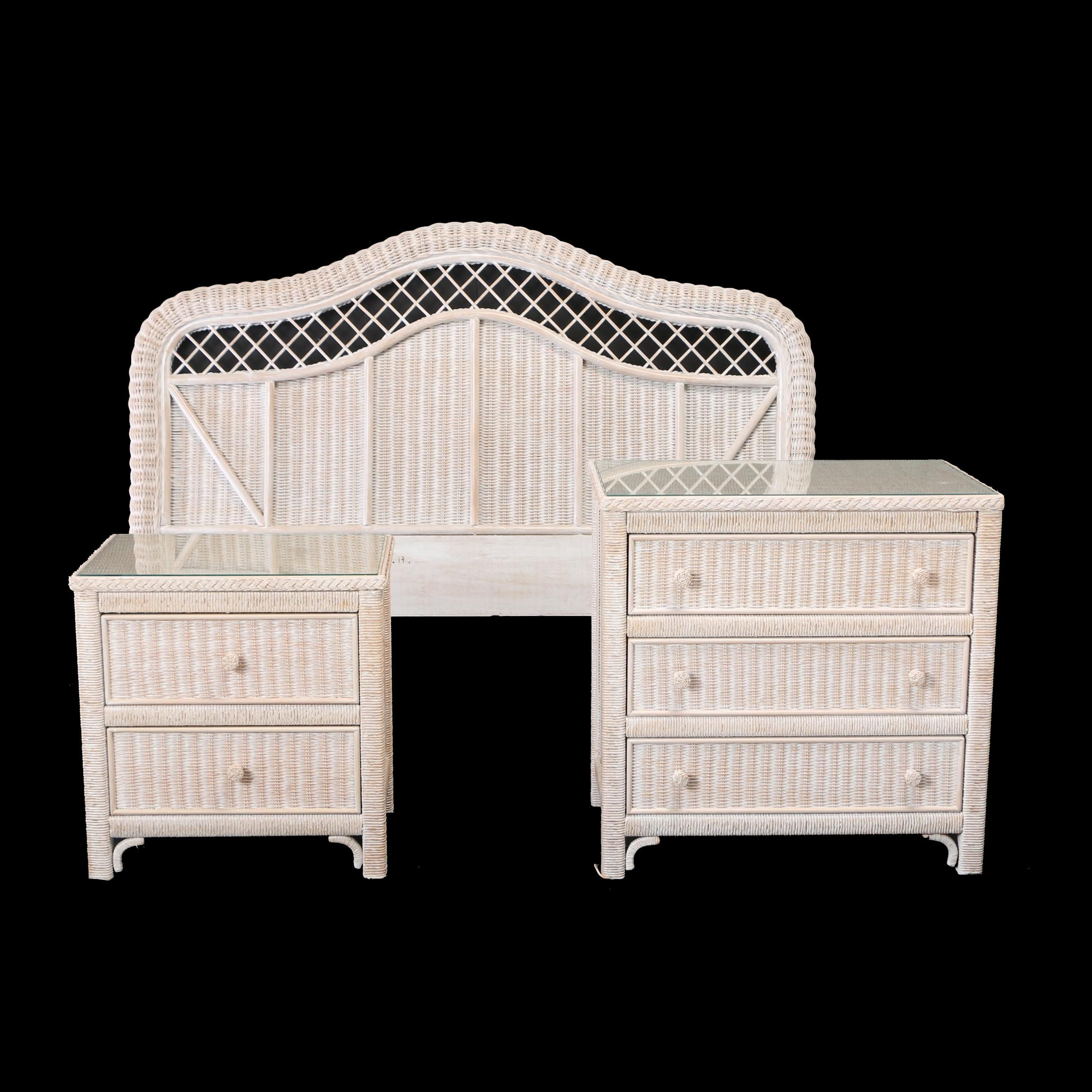 Contemporary Three-Piece Painted Wicker Bedroom Set by Henry Link for Lexington