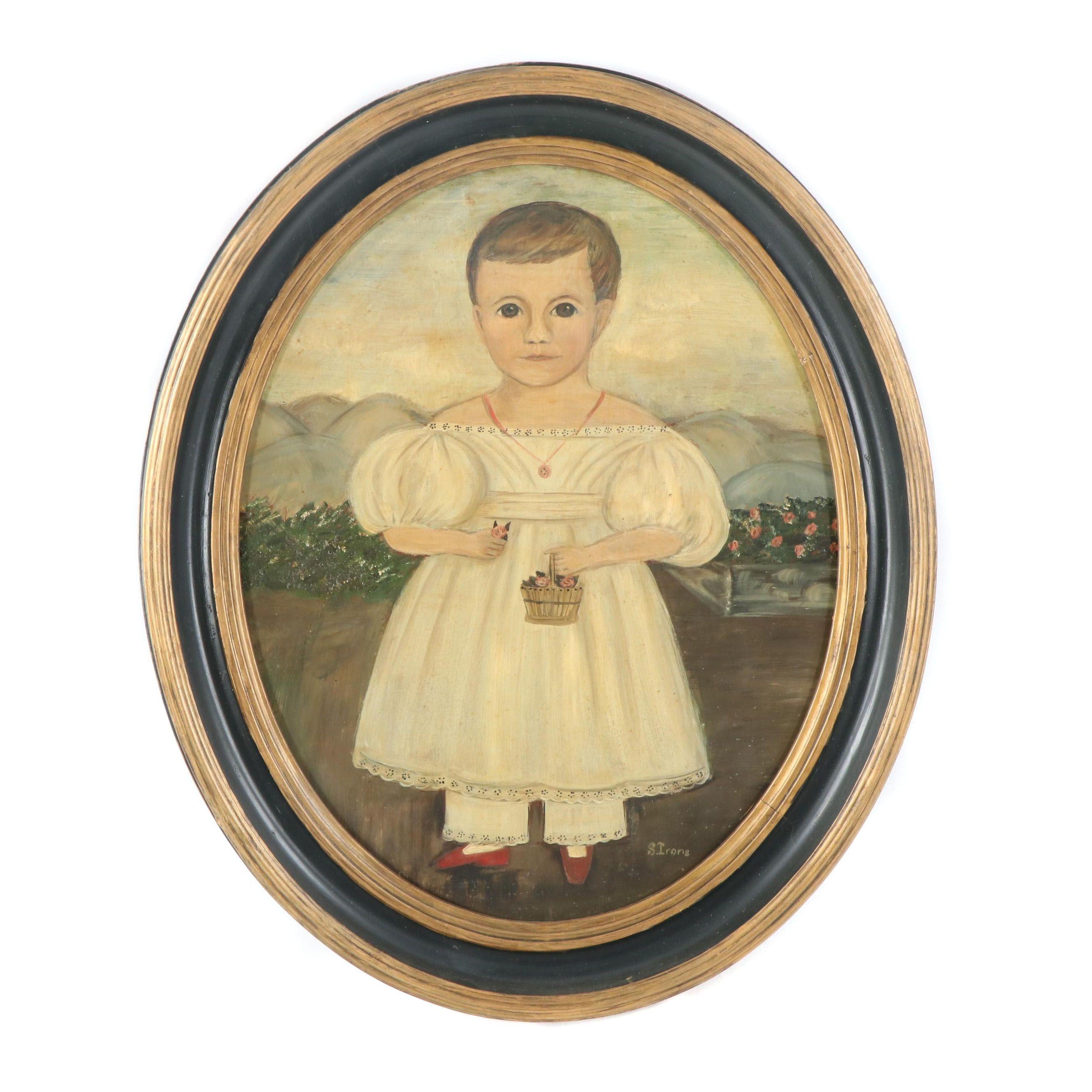 S. Irons Primitive Portrait Oil Painting