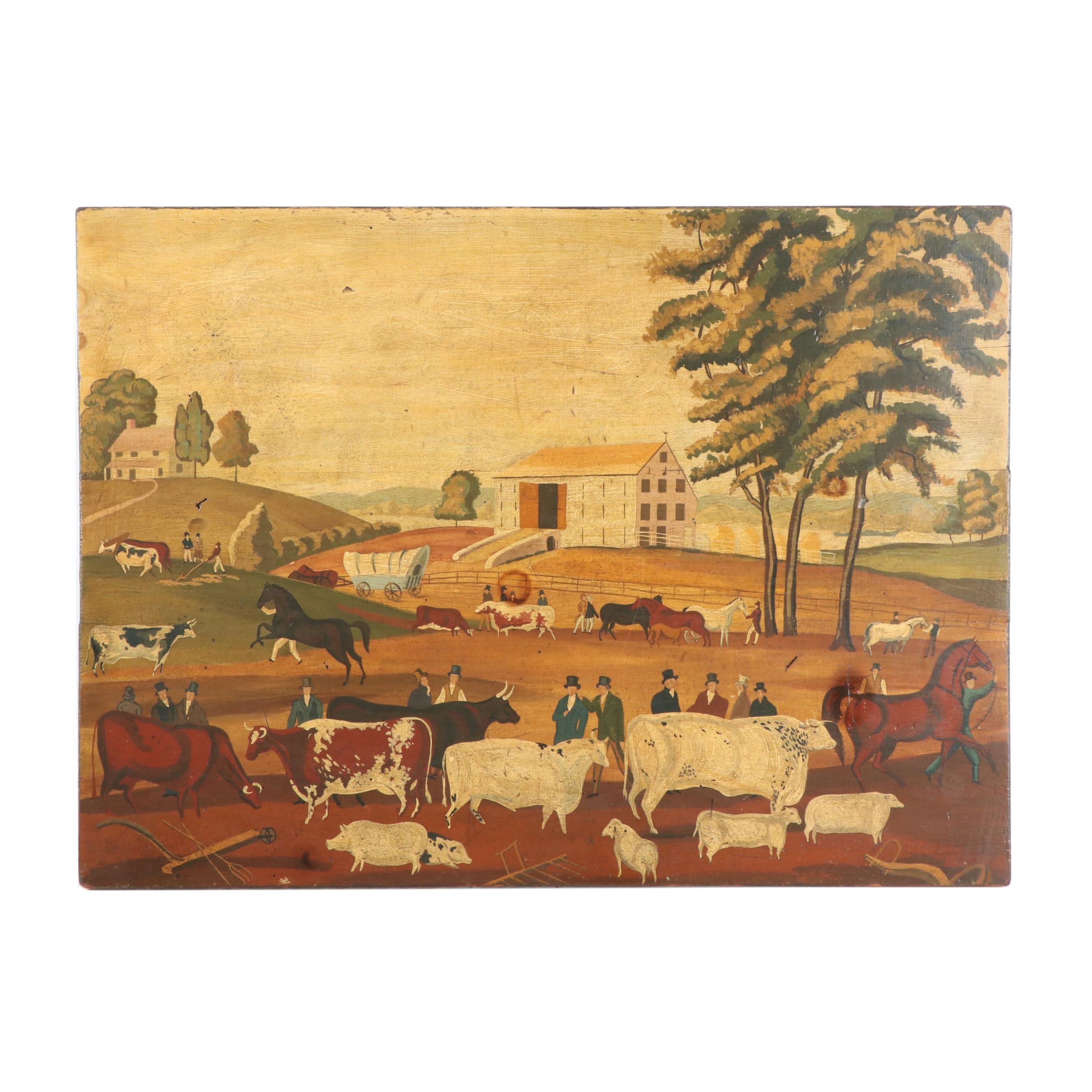 """Folk Style Oil Painting """"Country Auction"""""""