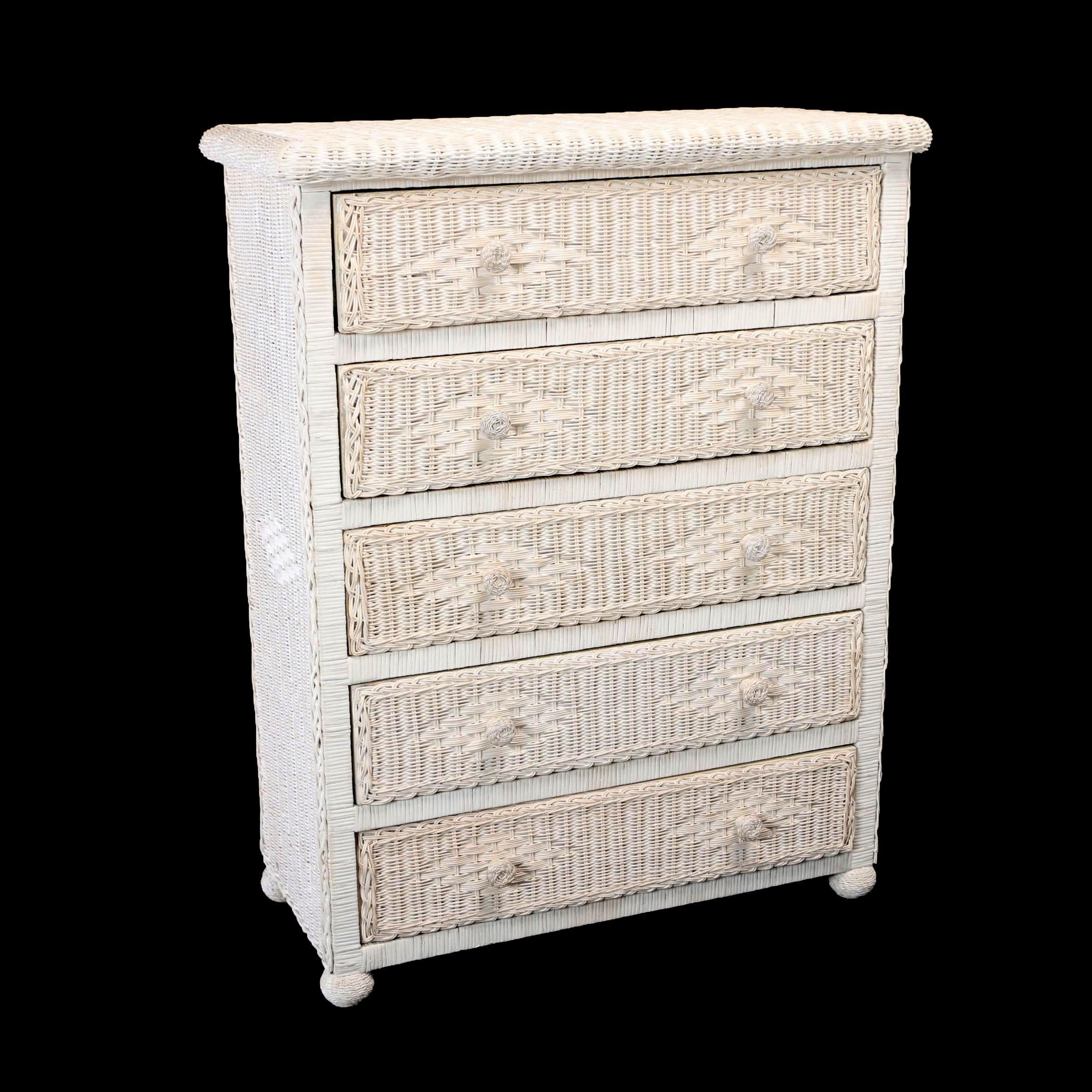 Contemporary White-Painted Wicker Chest of Drawers
