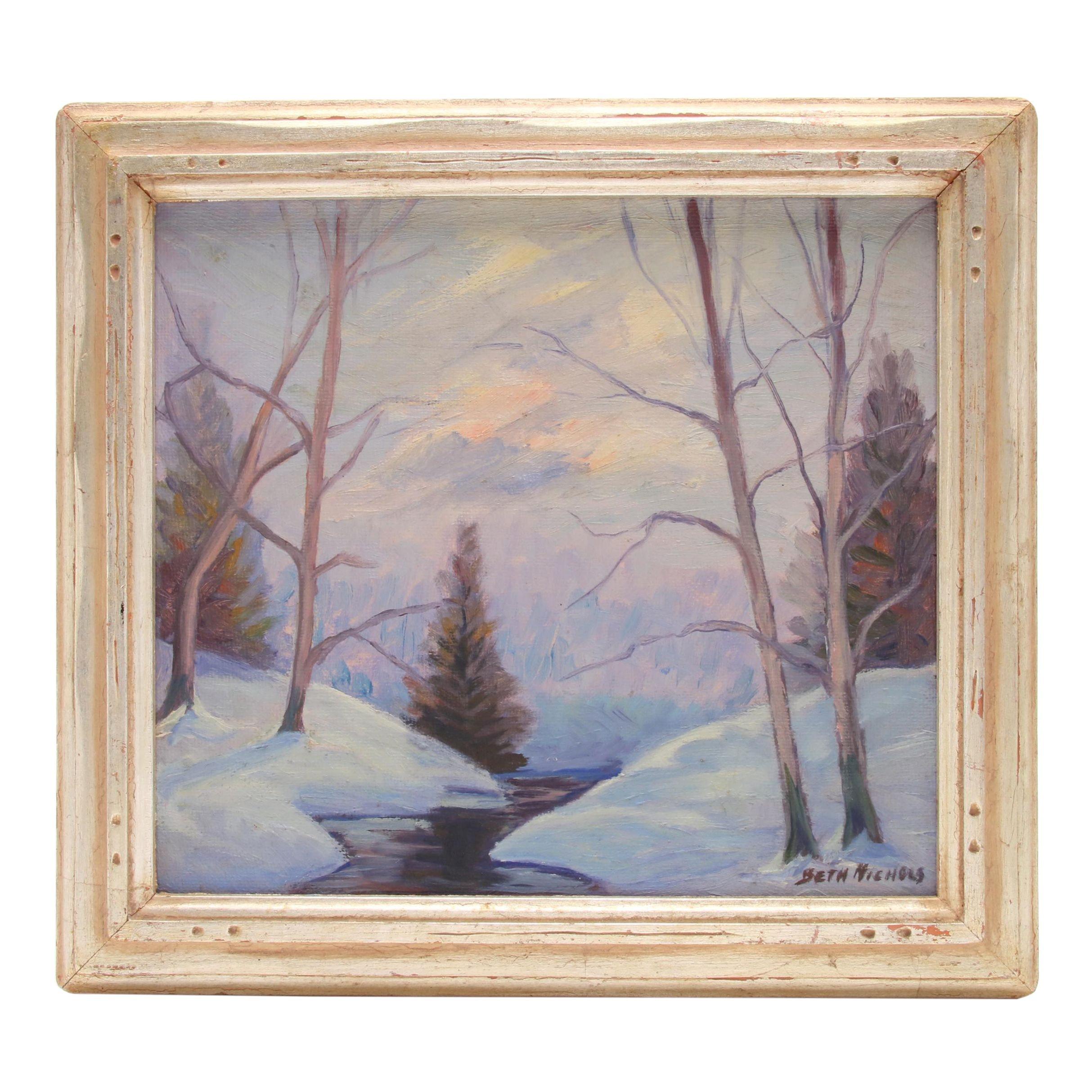 Beth Nichols Oil Painting of Winter Landscape