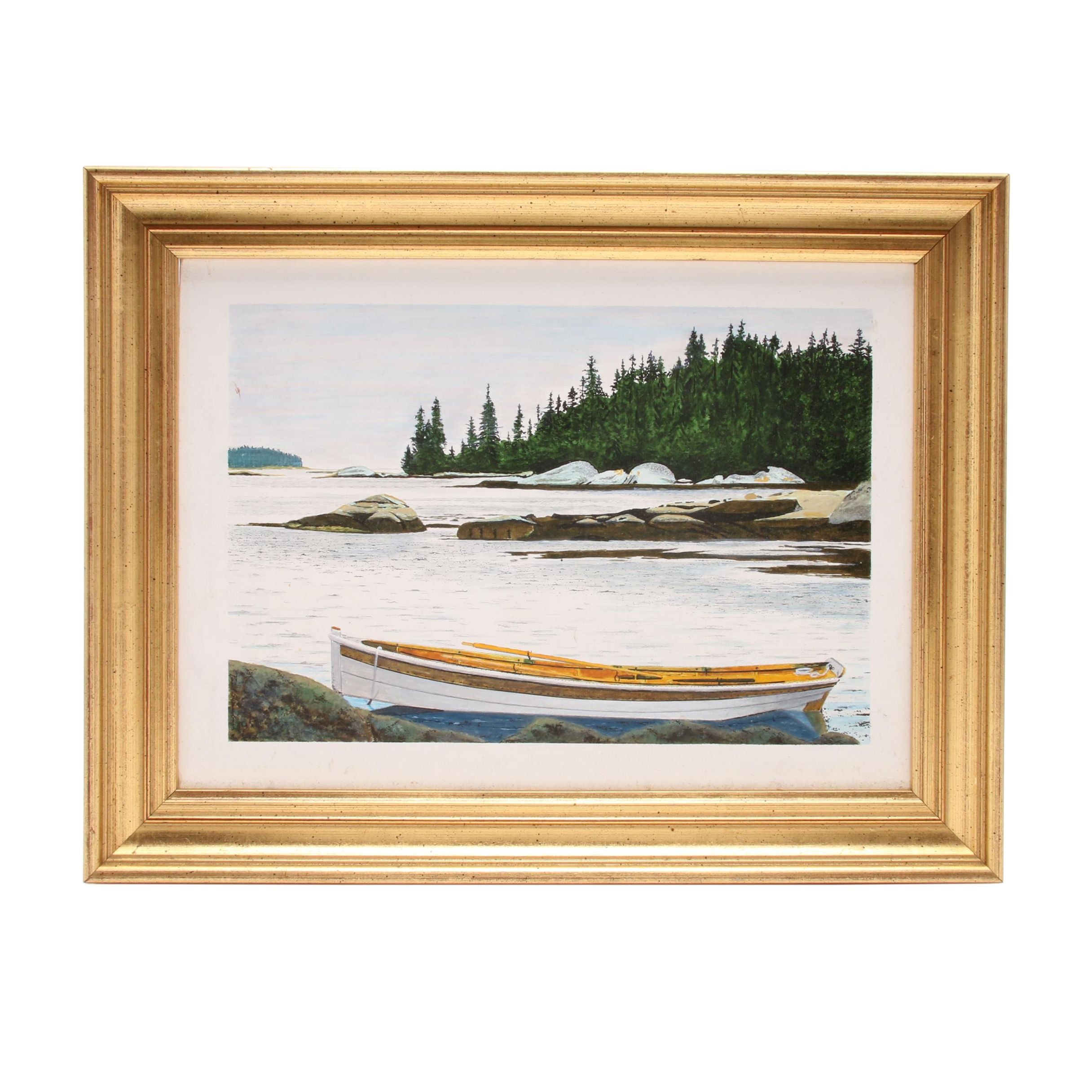 "Paul Shaub Mixed Media Painting ""Maine: Penobscott Bay"""