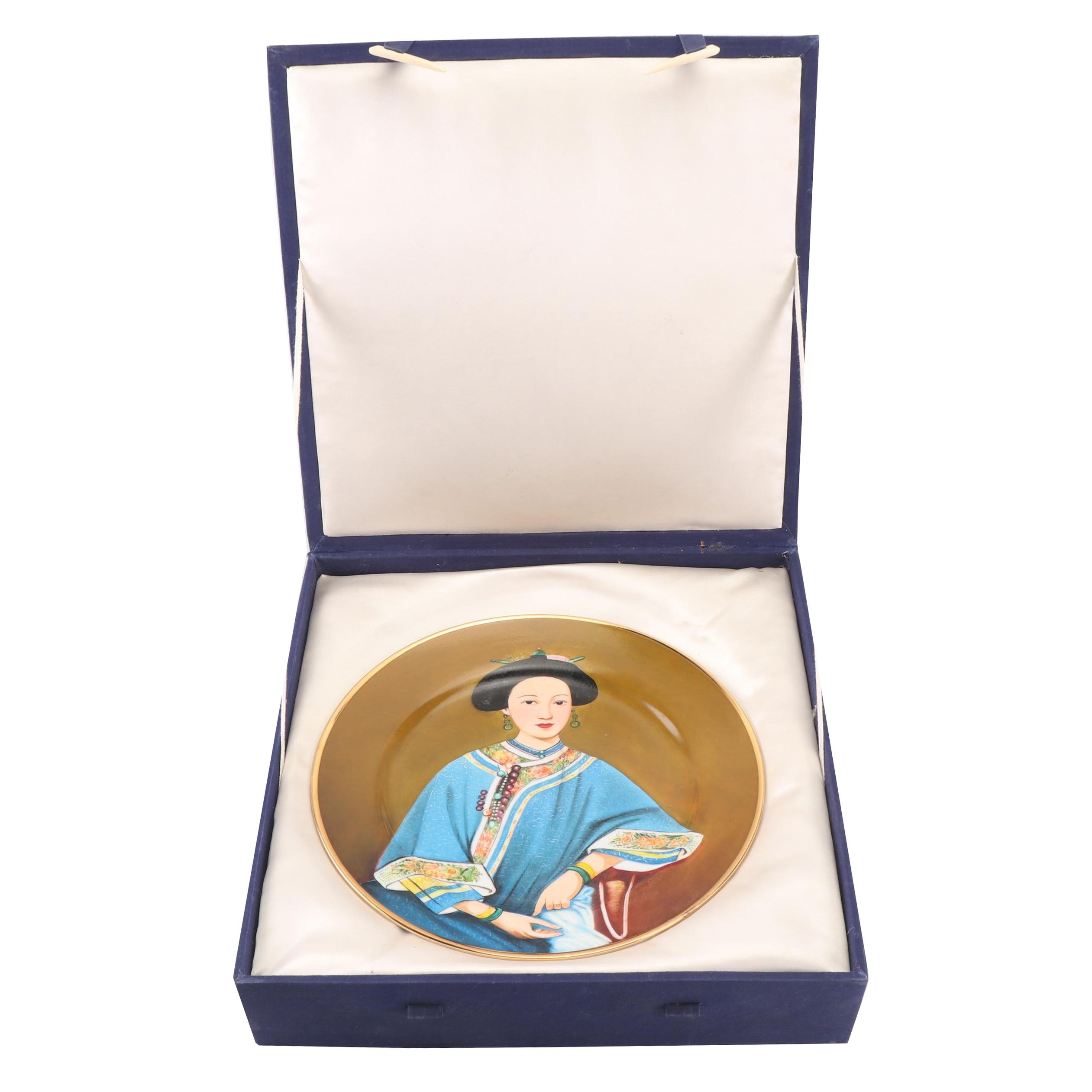Chinese Hand Painted Porcelain Portrait Plate with Box