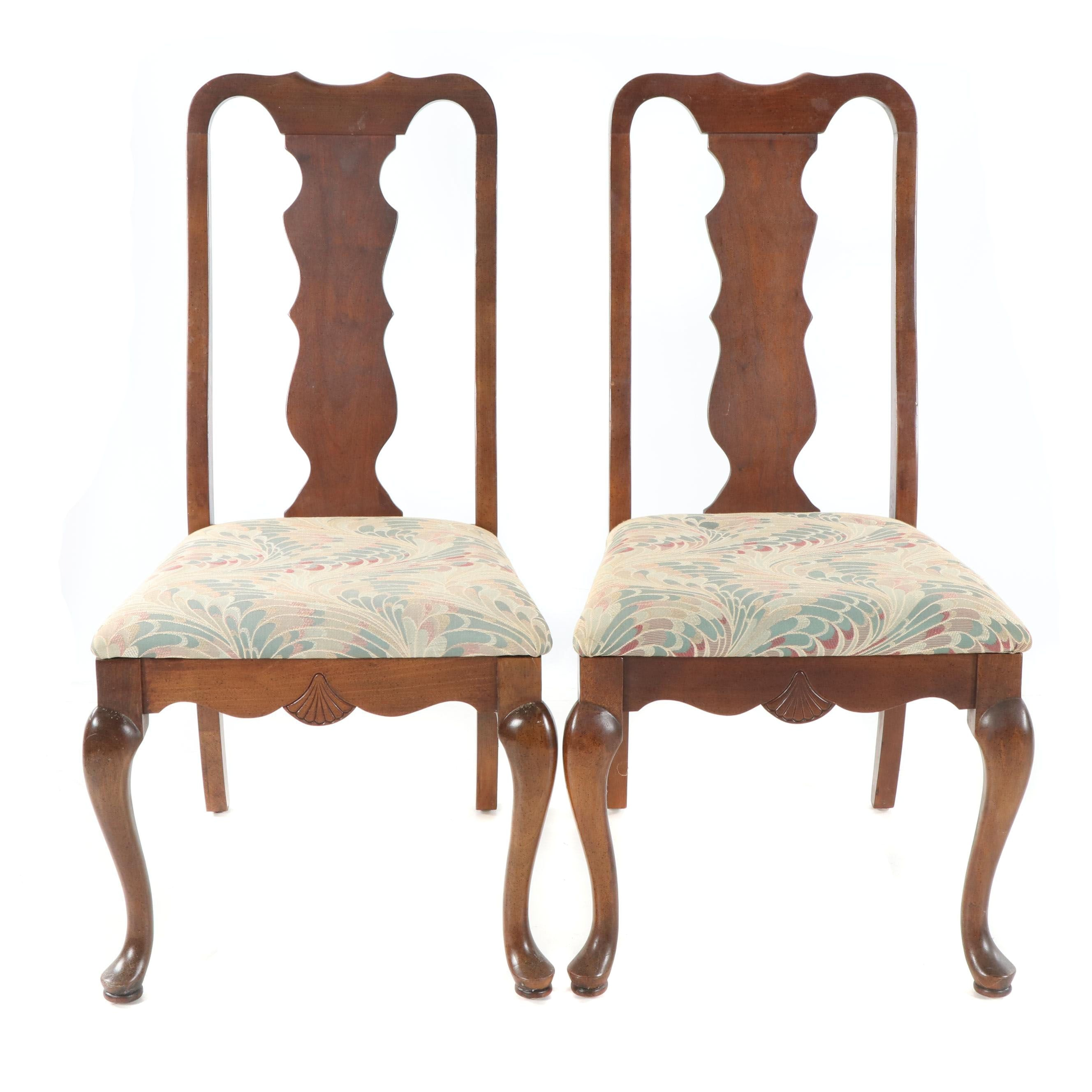 Queen Anne Style Mahogany Frame Upholstered Side Chairs, Late 20th Century