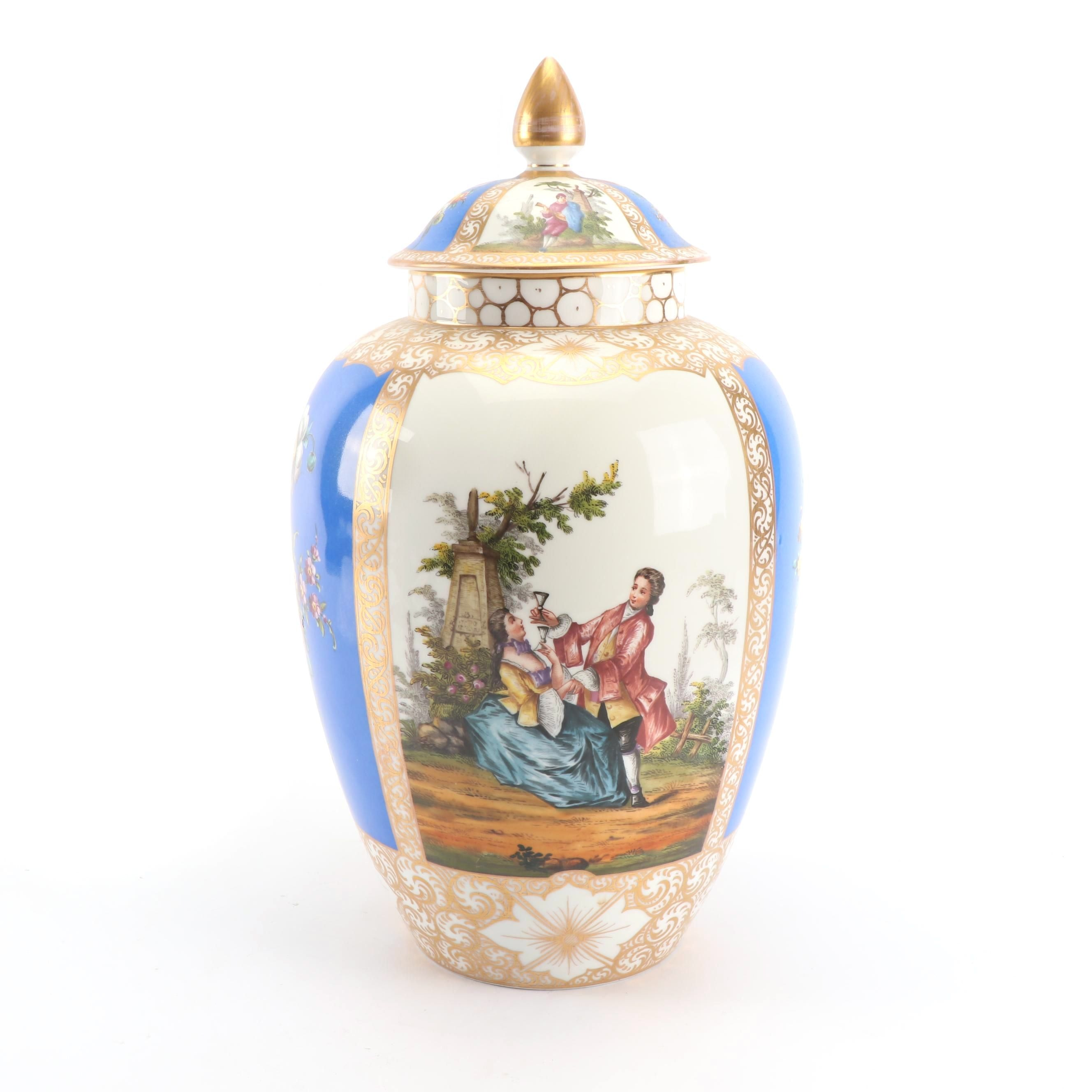 Helena Wolfsohn Hand-Painted Porcelain Lidded Jar