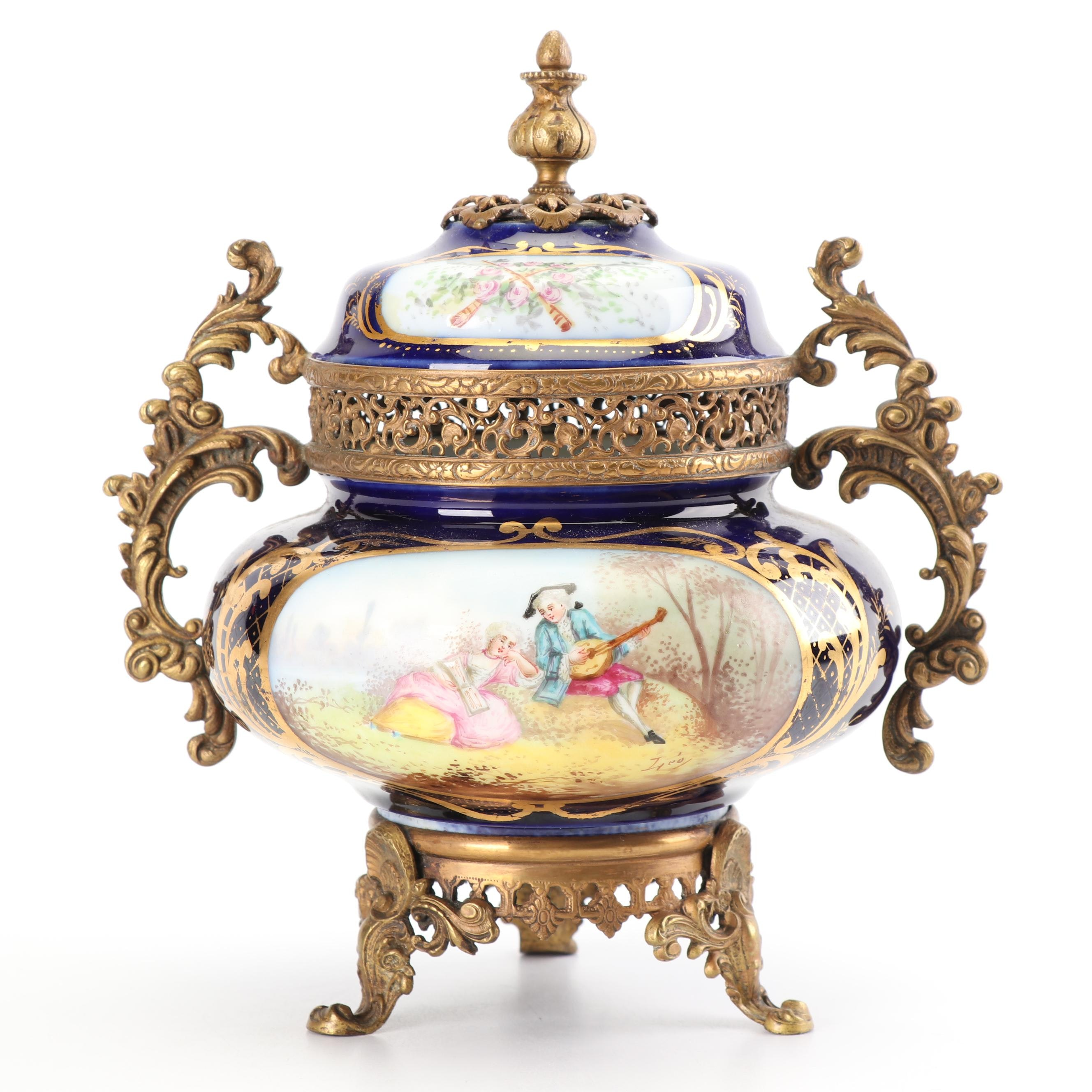 Sevres Style Ormolu Mounted Porcelain Urn with Signed Hand-Painted Decoration