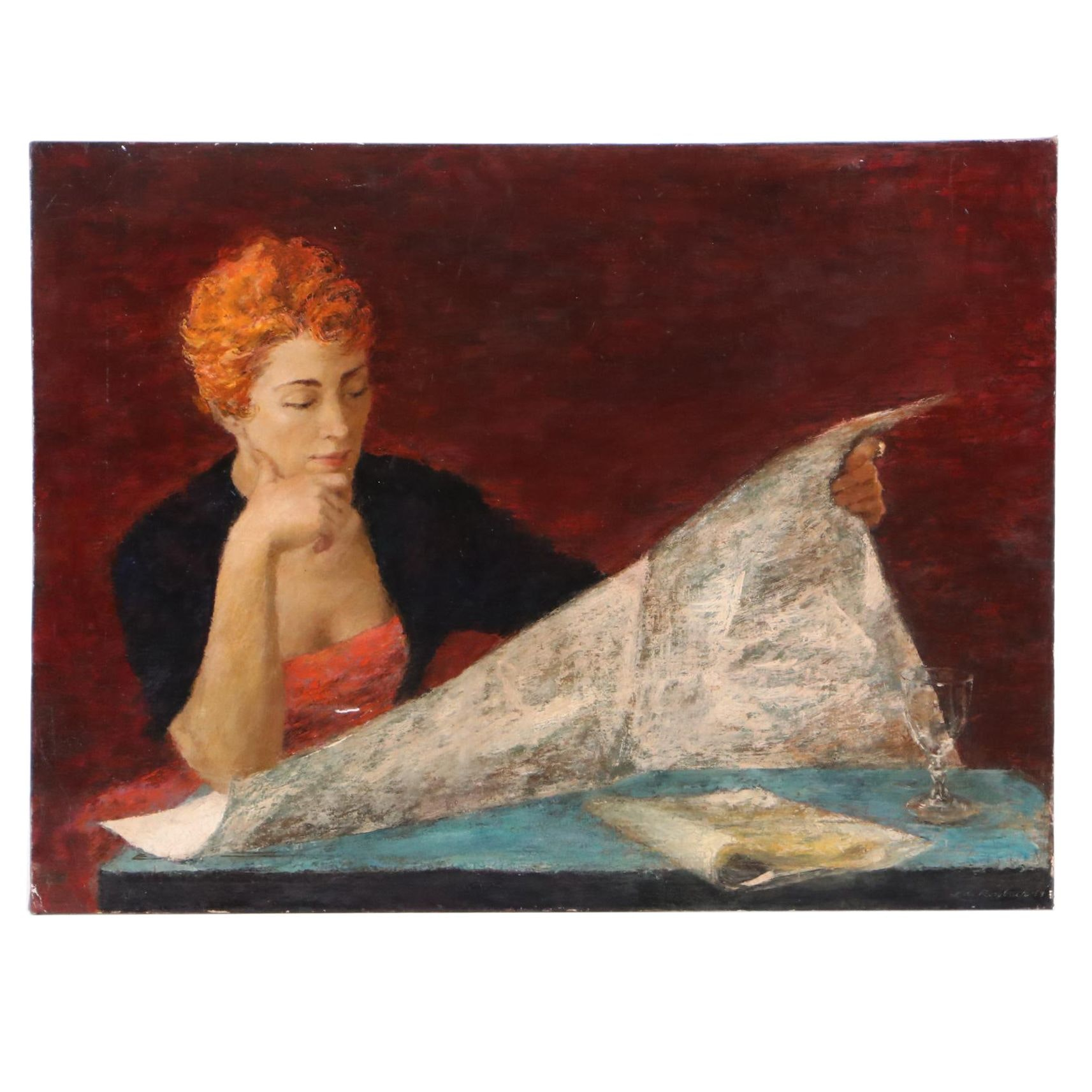 Lois Rossbach Ellis Oil Painting of Woman Reading Newspaper