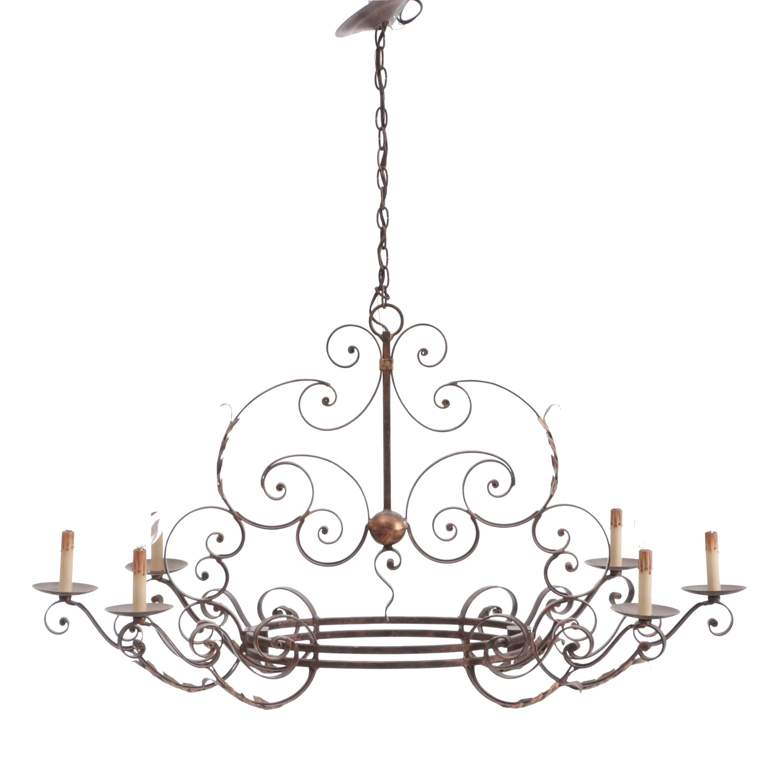 French Country Style Scroll Motif Six-Light Chandelier