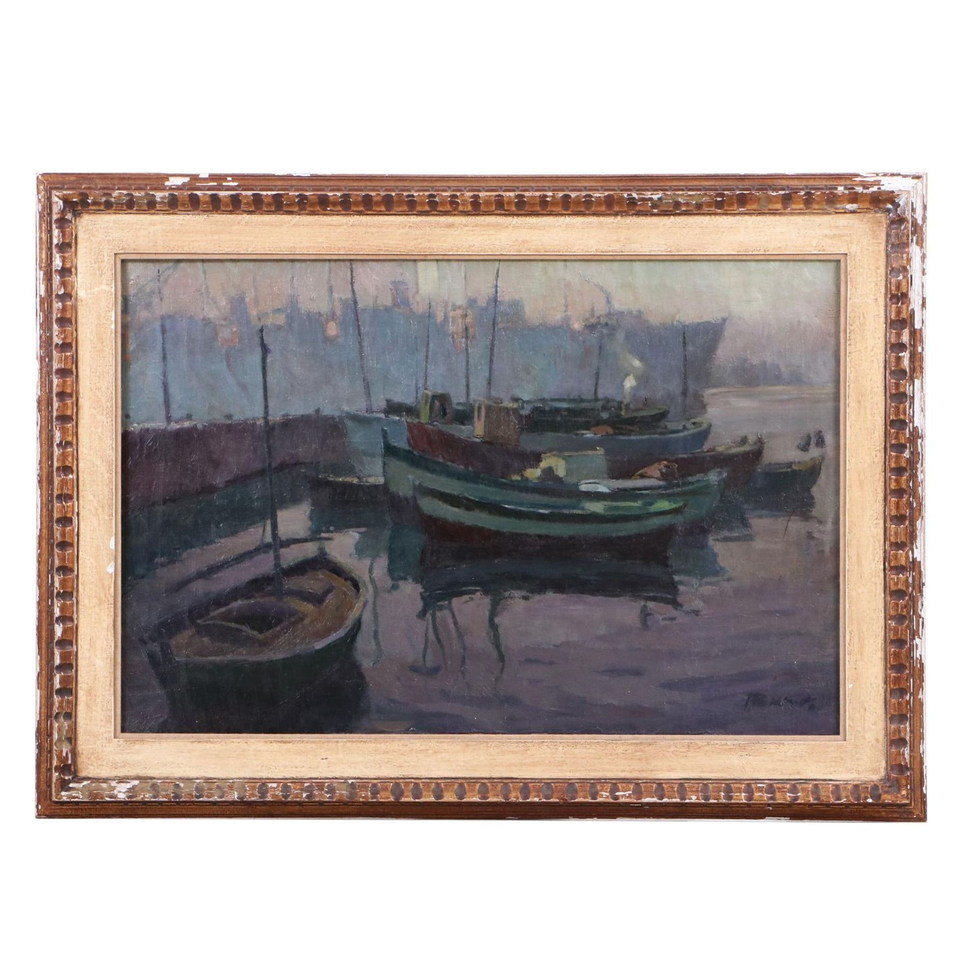 Mid 20th Century Oil Painting of Harbor Scene